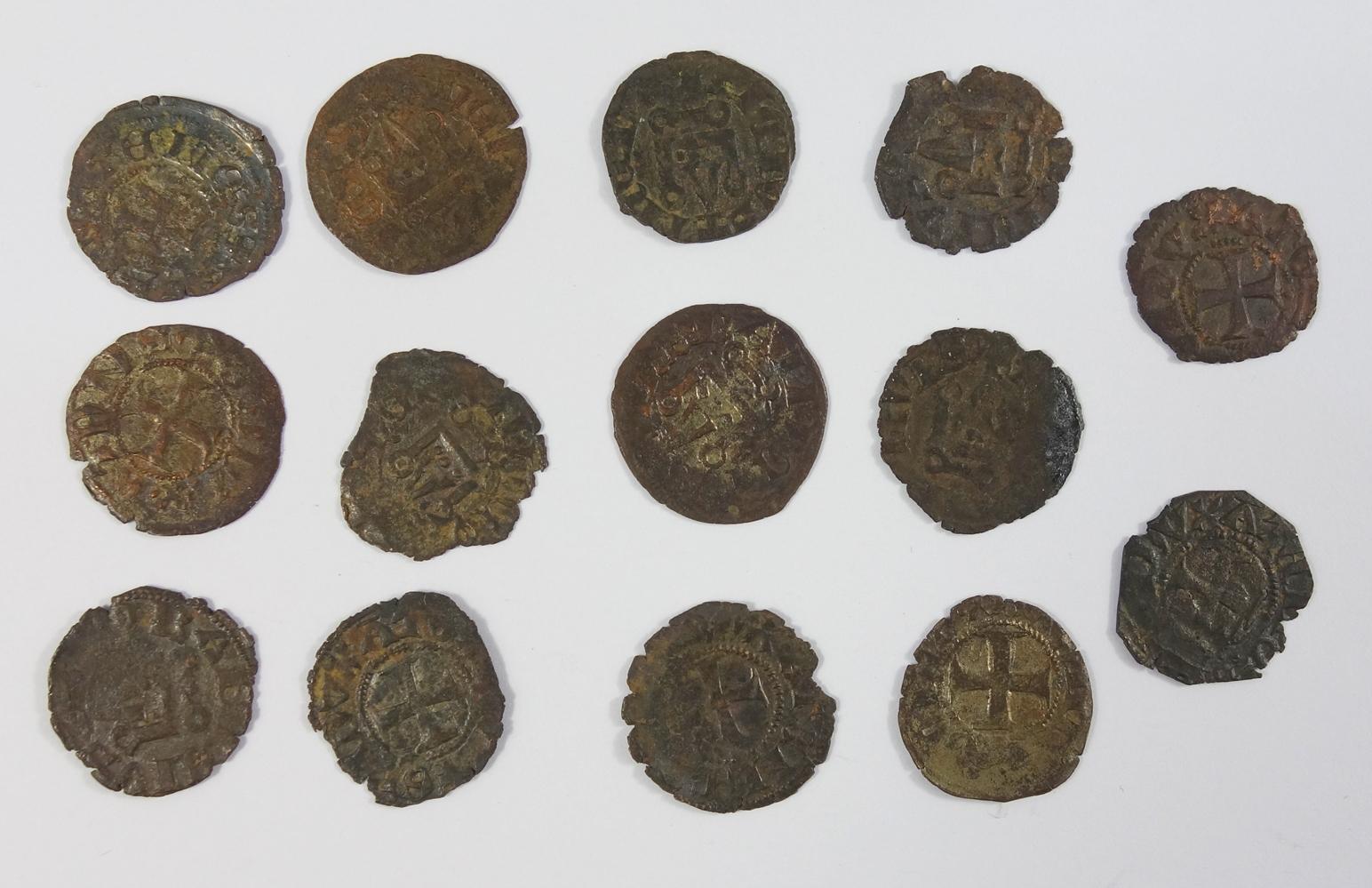Guido II. 1287-1308, 14 Denare, Theben, verschiedene Varianten, ssGuido II. 1287-1308, 14 denarii,