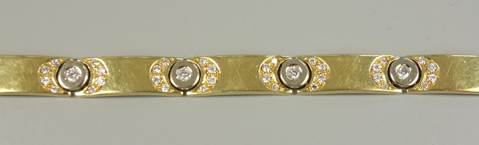 """Brillant-Armband, Hersteller """"Mabri"""", 750er Gold, Gew.26,08g, total ca.1,30ct, 10 Brillanten á ca. - Bild 2 aus 3"""