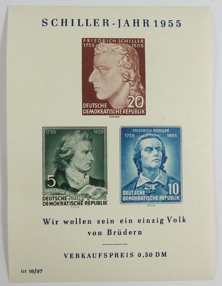 DDR, Schillerblock mit PF, BL 12 II, Kat.-Wert 300 €, ungestempeltGDR, Schillerblock with PF, BL