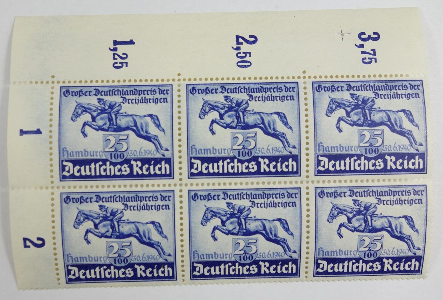 Bogenausschnitt, Deutsches Reich, Mi.-Nr.746, Kat.-Wert 160 €, Deutschlandpreis, 25+100 Pf., 6