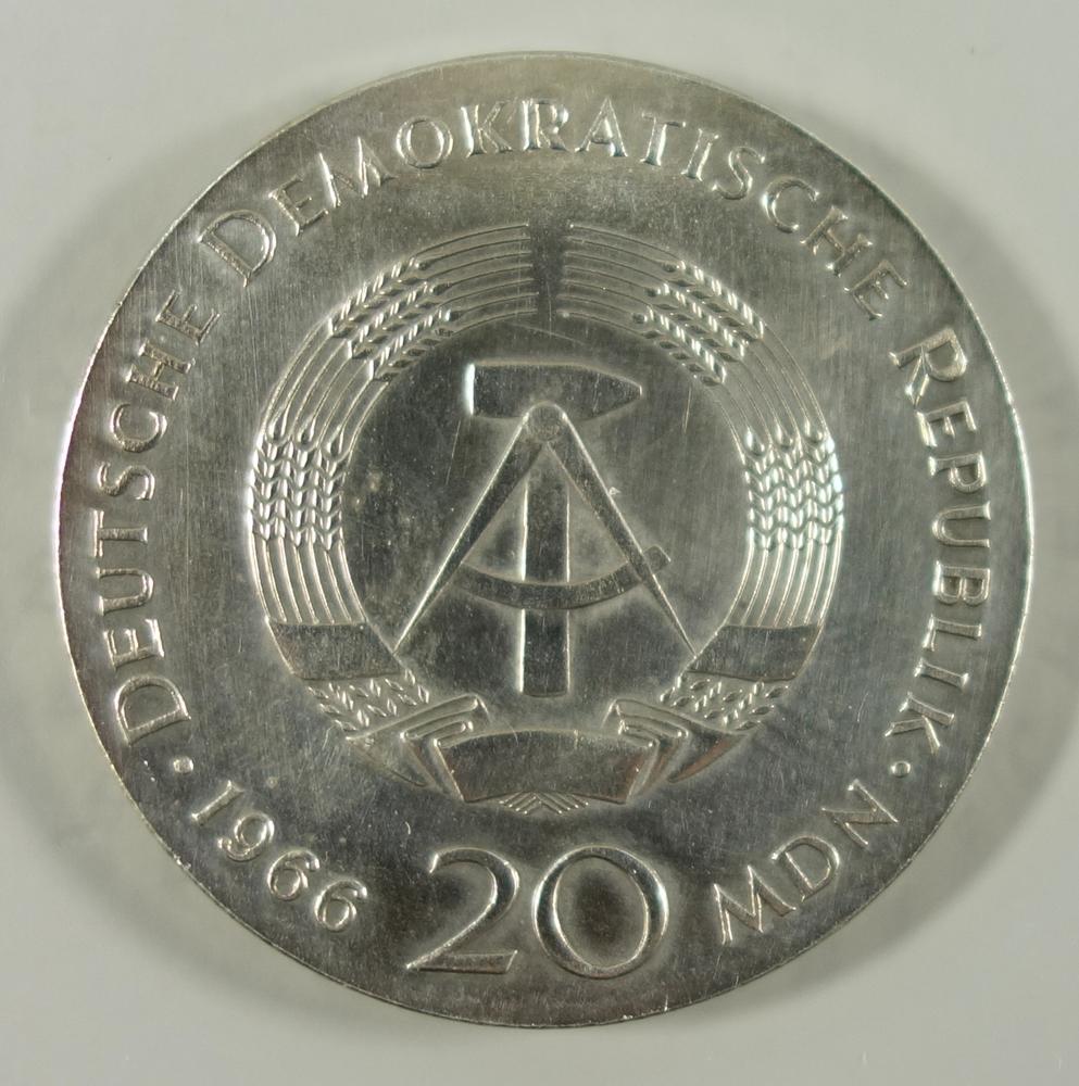 20 Mark 1966, Gottfried W. Leibniz, DDR, 800er Silber, Gew.ca.20,09g, ss20 Mark 1966, Gottfried W. - Bild 2 aus 2