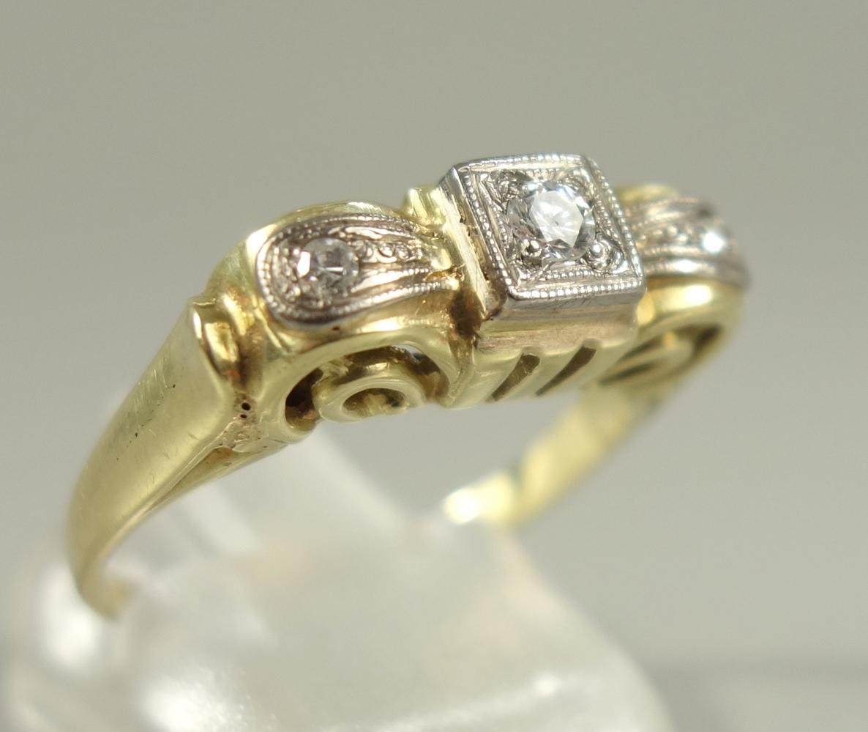 Ring mit Altschliff-Dia.-Brillanten, 585er Gold, Gew.3,38g, 3 Altschliff-Dia.-Brill., total ca.0,