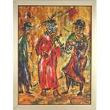 """undeutlich signiert, """"Musizierende Clowns"""", 2. Hälfte 20. Jahrhundert, Acryl/Malkarton, unten rechts"""