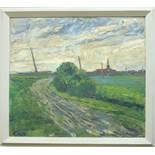 """Otto Warnke (1896, Meldorf-1976, Itzehoe), """"Norddeutsche Landschaft"""", 1960er Jahre, Öl/Platte,"""