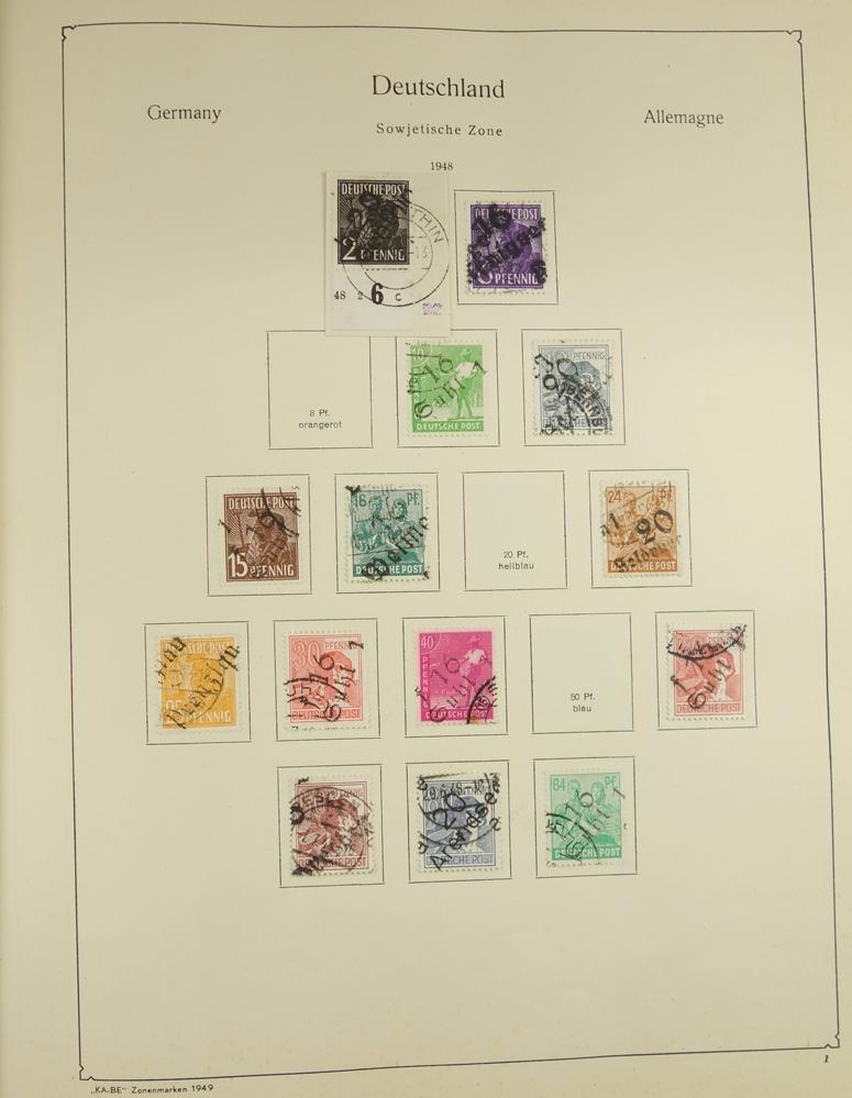 """KA-BE Briefmarkenalbum """"Die deutschen Zonenmarken Nr. 321/323"""", ab 1948-1960, gut bestückt, nicht"""