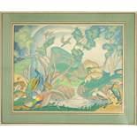 """Michel Lattry (1875-1941) """"Landschaftsidyll mit Pfauen"""", o.J., Bleistift/Gouache/Papier; unten"""