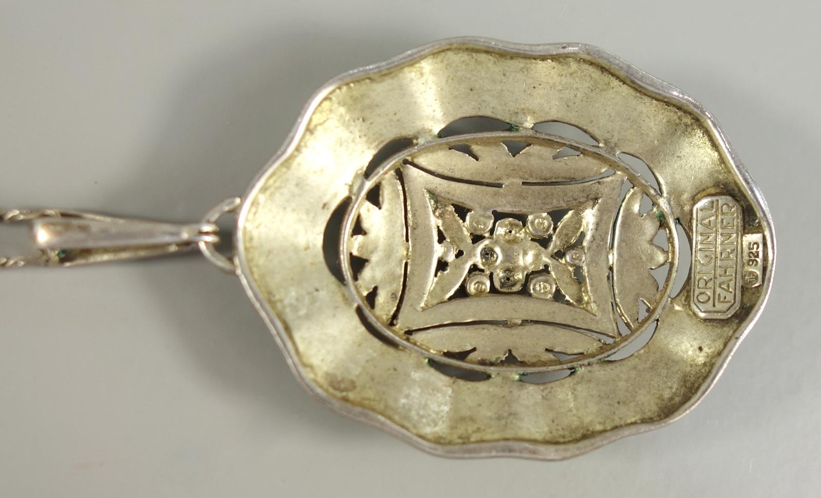 Anhänger, Theodor Fahrner, 925er Silber, 1930er Jahre, an 835er Silberkette, Gew.14,70g, - Bild 3 aus 4