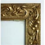 verglaster Goldstuckrahmen, Jugendstil, um 1900, Goldstuck mit floralem Rollwerk, Rahmen-HB 54*47cm,