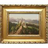 """unsigniert, """"Schloss Neuschwanstein"""", Öl/Holz, 1. Hälfte 20. Jahrhundert, HB 18*24,5cm, in"""