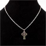 Silver 925 Necklace & Connemara Marble Celtic Cross Pendant