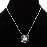 """Silver & Gold Plated Chain & Flower Pendant - Necklace Length 16.5"""" Pendant Height 0.75"""""""