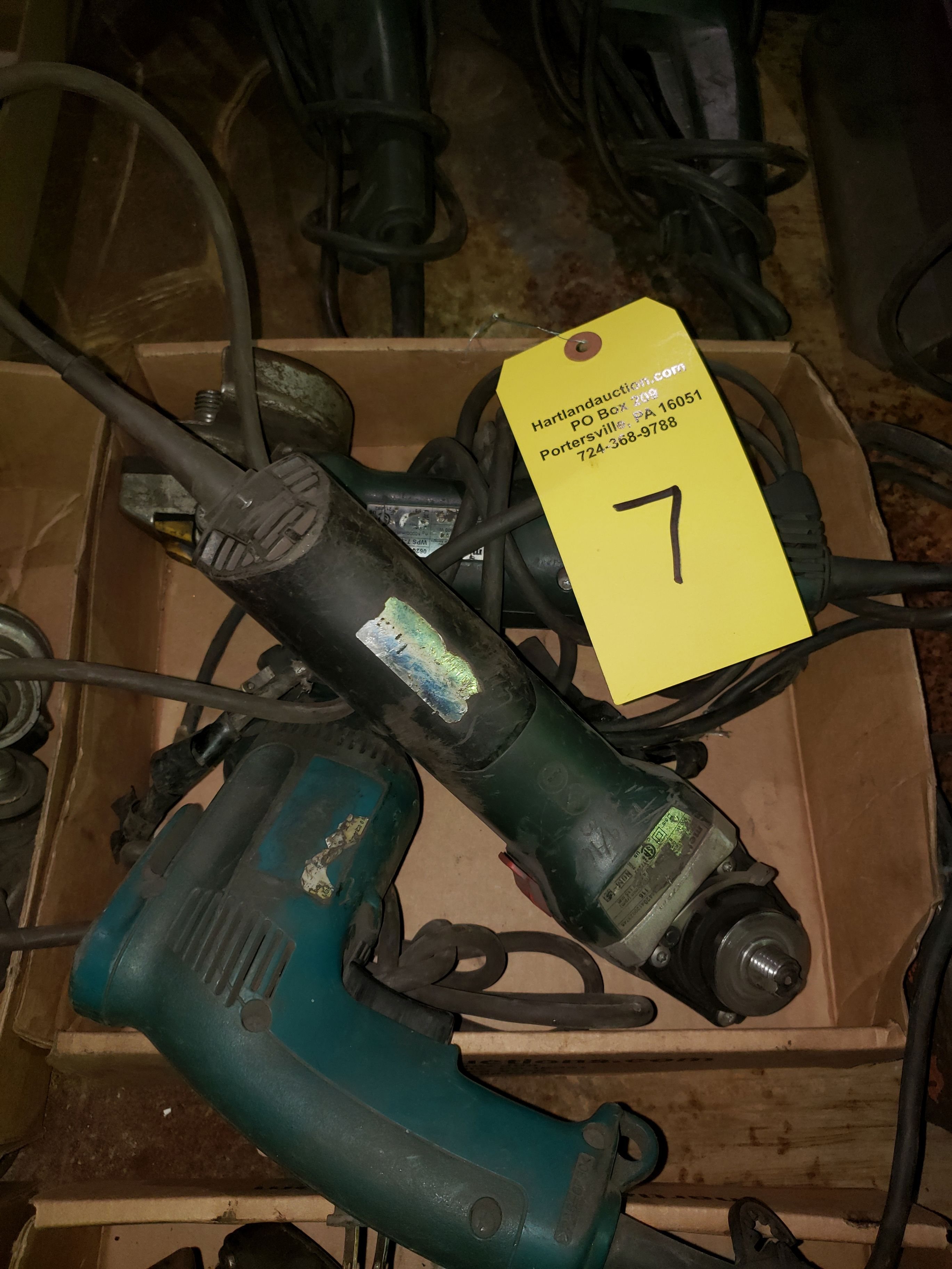 TWO METABO RIGHT ANGLE GRINDERS & MAKITA DRILL