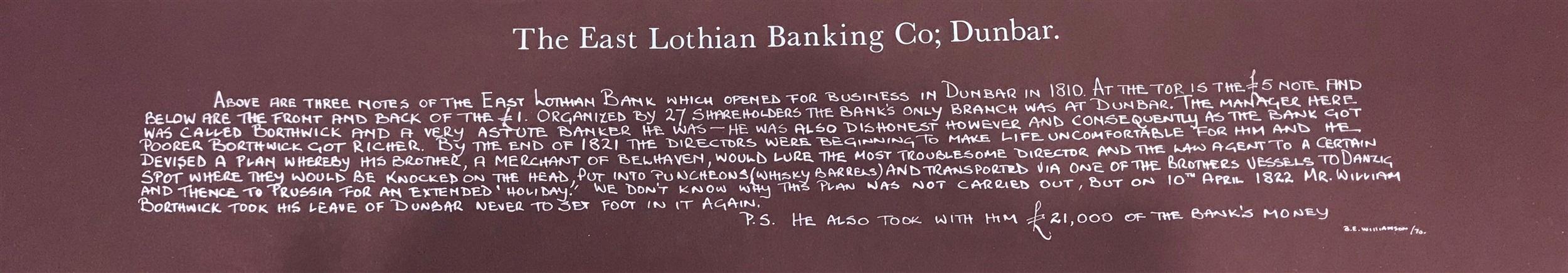 Lot 598 - AN EAST LOTHIAN BANKING COMPANY TWENTY SHILLINGS NOTED, UNDATED