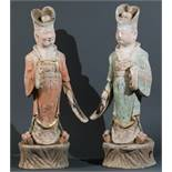 PAIR OF STANDING DIGNITAIRIES FROM THE IMPERIAL COURT  Terracotta with paint coating and gilding.
