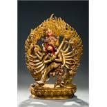16 ARMED CAKRASAMVARA  Fire gilt bronze. Nepal, 20th cent.  Bronze figure of a four-headed Sadhita