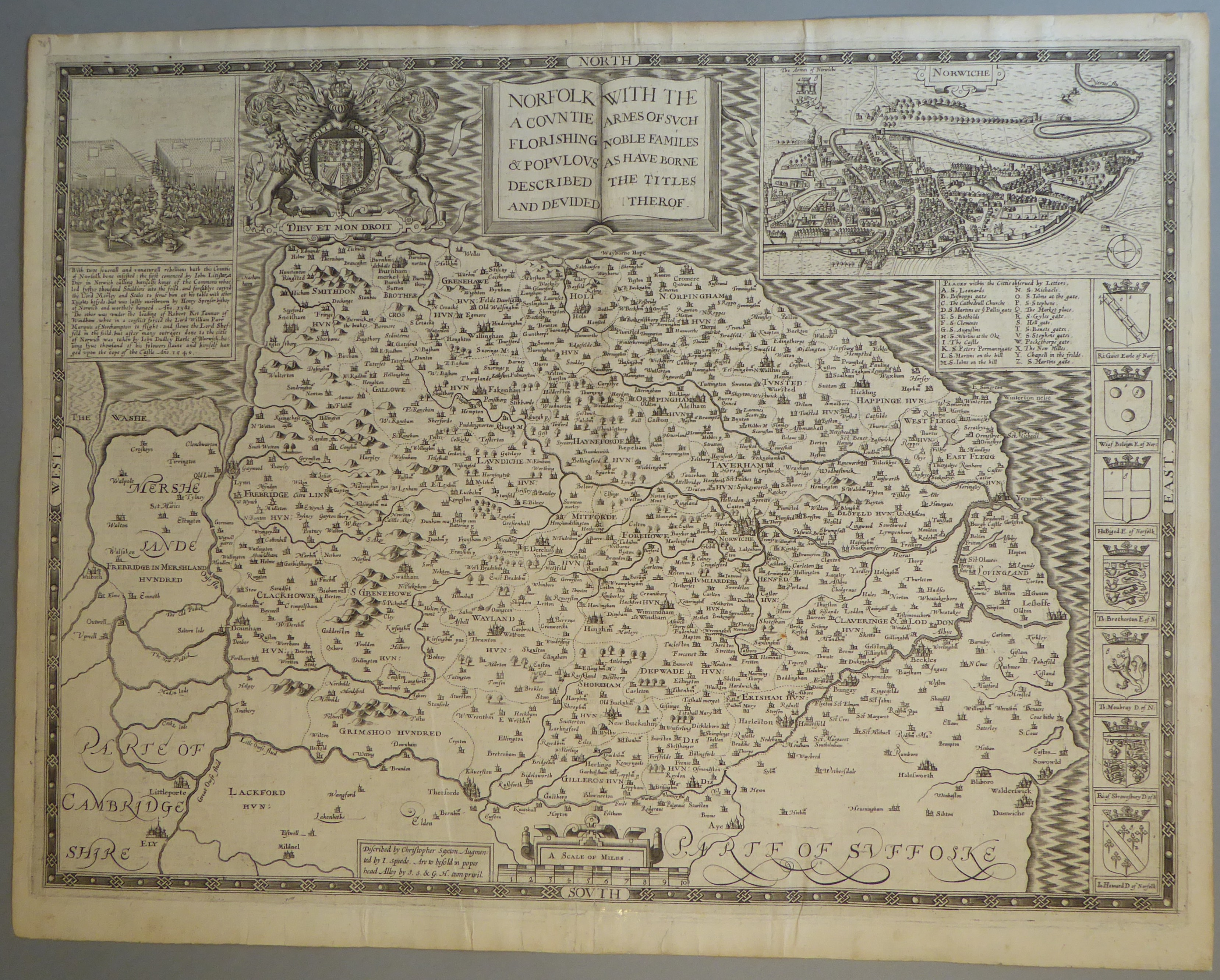Lot 33 - A C17th Black & White copper engraved map of Norfolk by John Speed, c1612