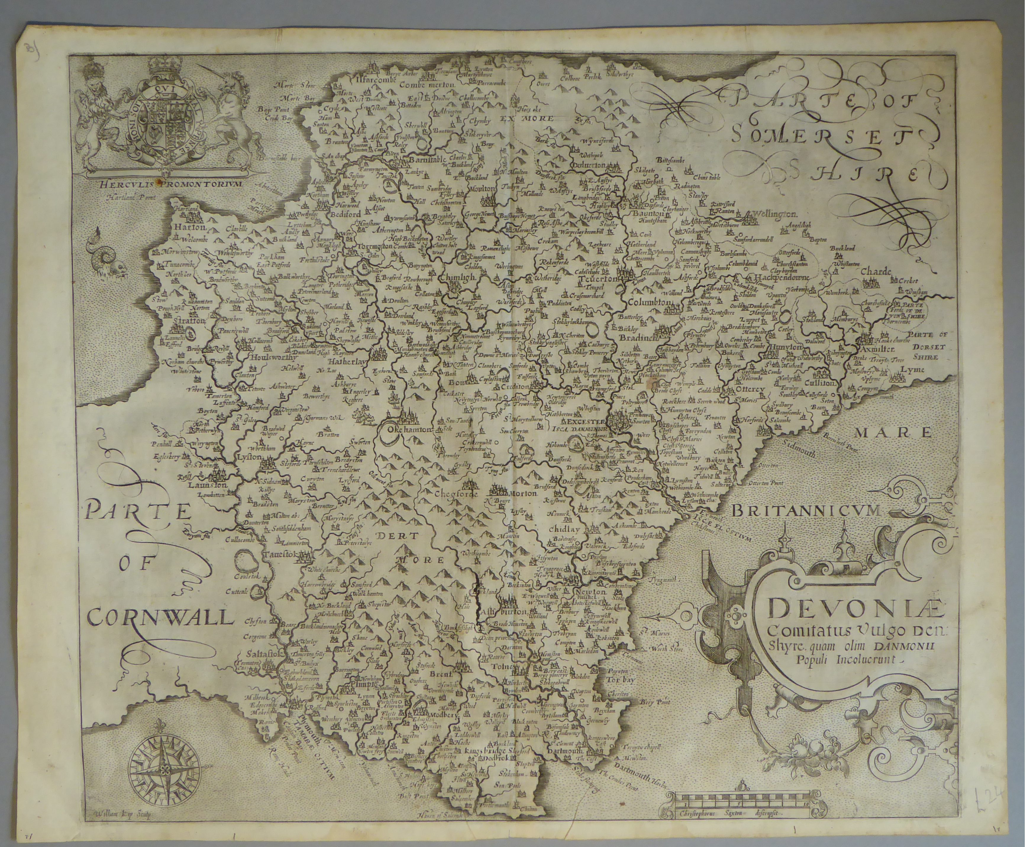 Lot 16 - A C17th Black & White copper engraved map of Devonshire by William Kip c1610