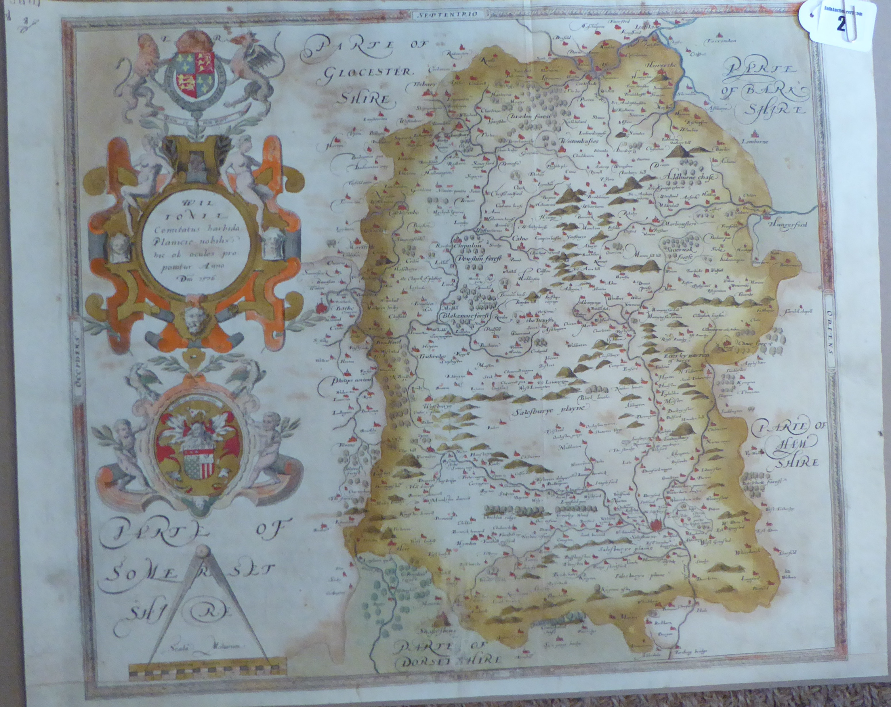 Lot 2 - A C16th hand coloured copper engraved map of Wiltshire C1579 by Christopher Saxton