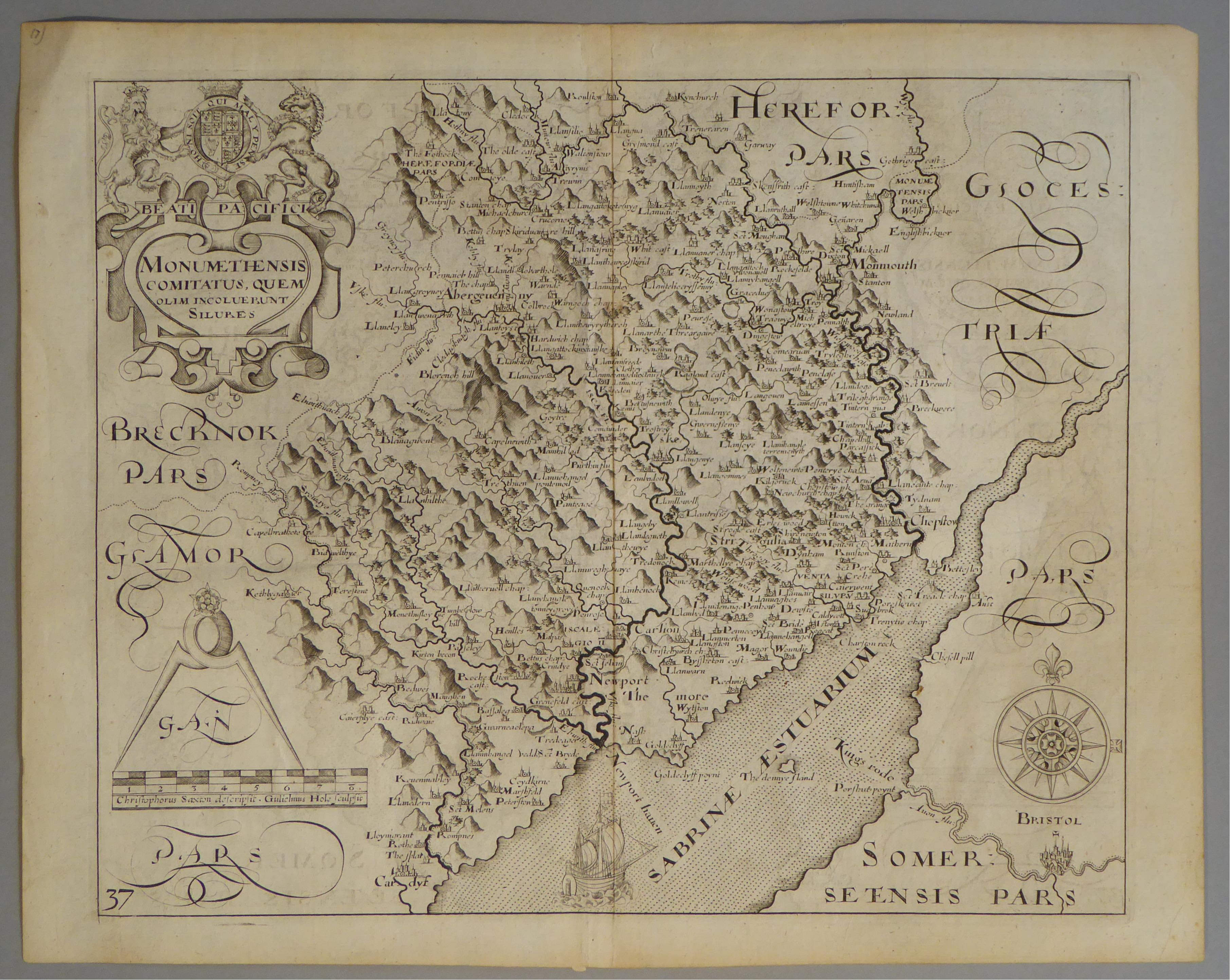 Lot 46 - A C17th Black & White copper engraved map of Monmouthshire by William Hole c1637