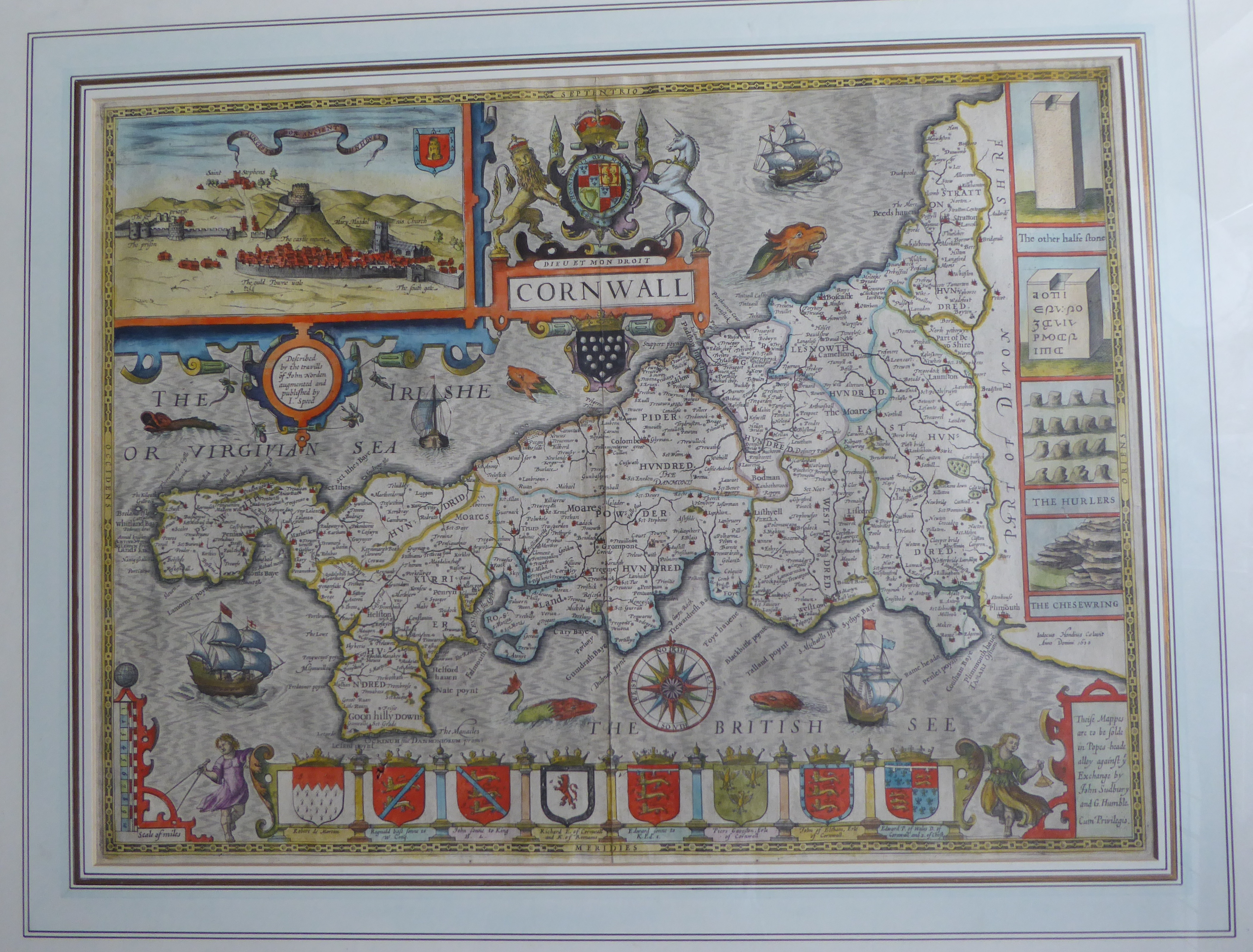 Lot 38 - A C17th hand coloured copper engraved map of Cornwall 1627 by John Speed