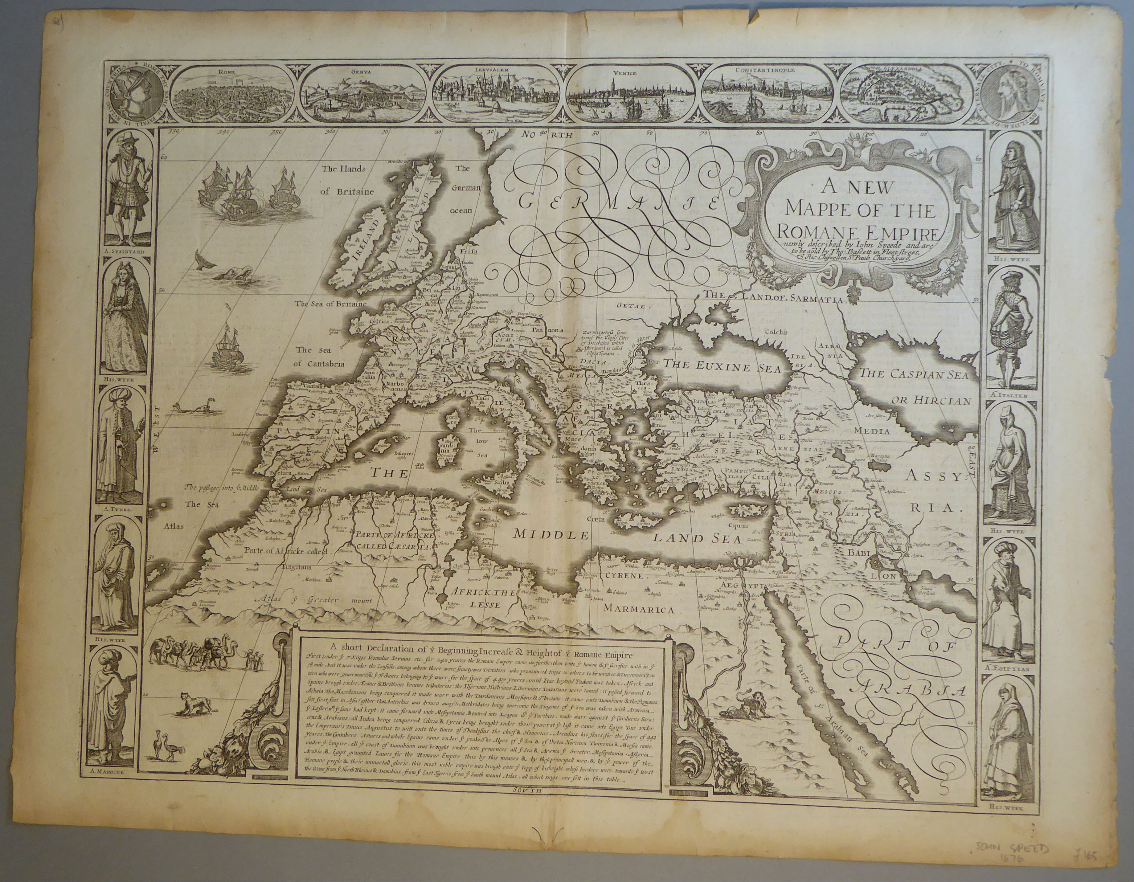 Lot 23 - A C17th Black & White copper engraved map of the Holy Roman Empire by John Speed, c1676