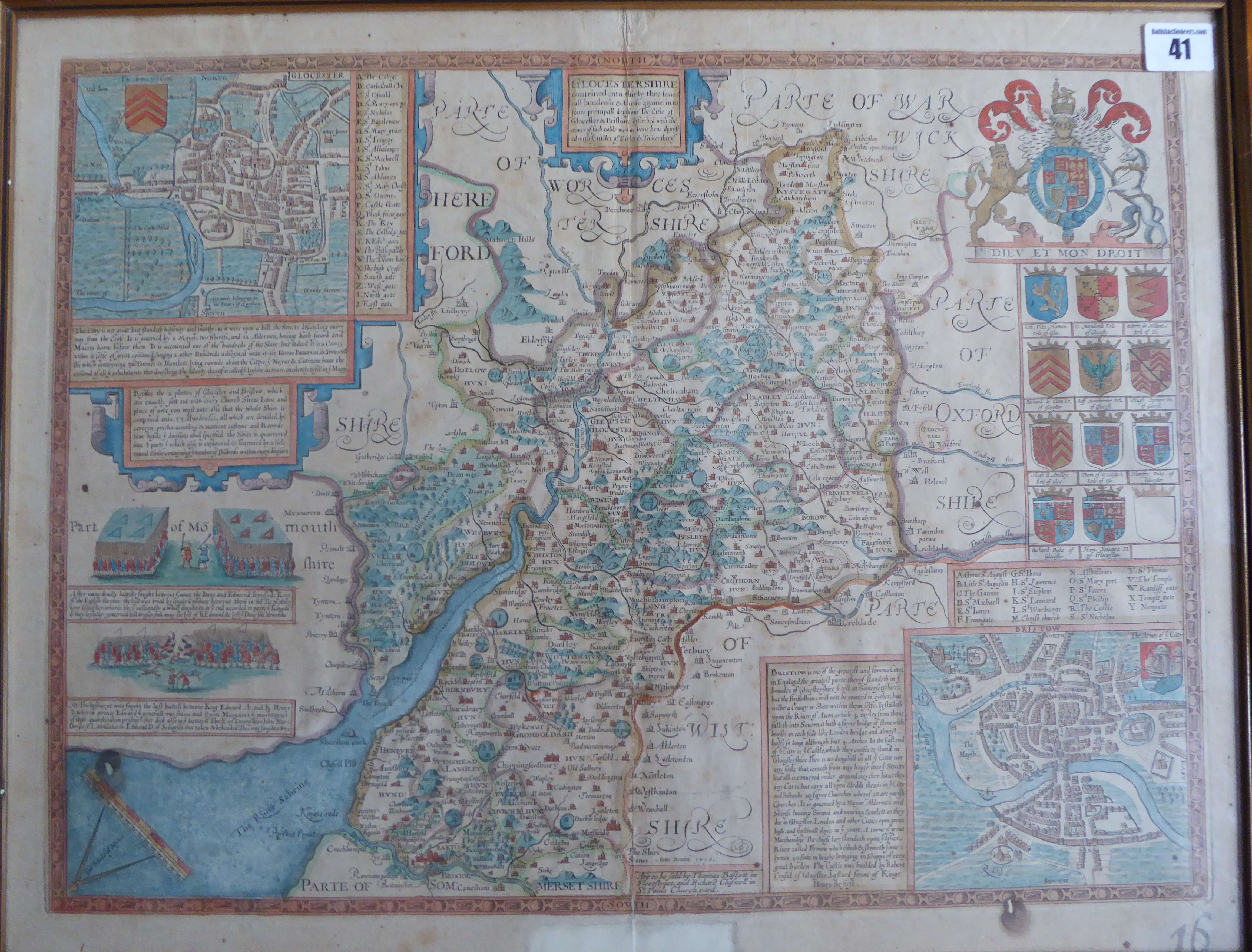 Lot 41 - A C17th hand coloured copper engraved map of Gloucestershire 1676 edition by John Speed