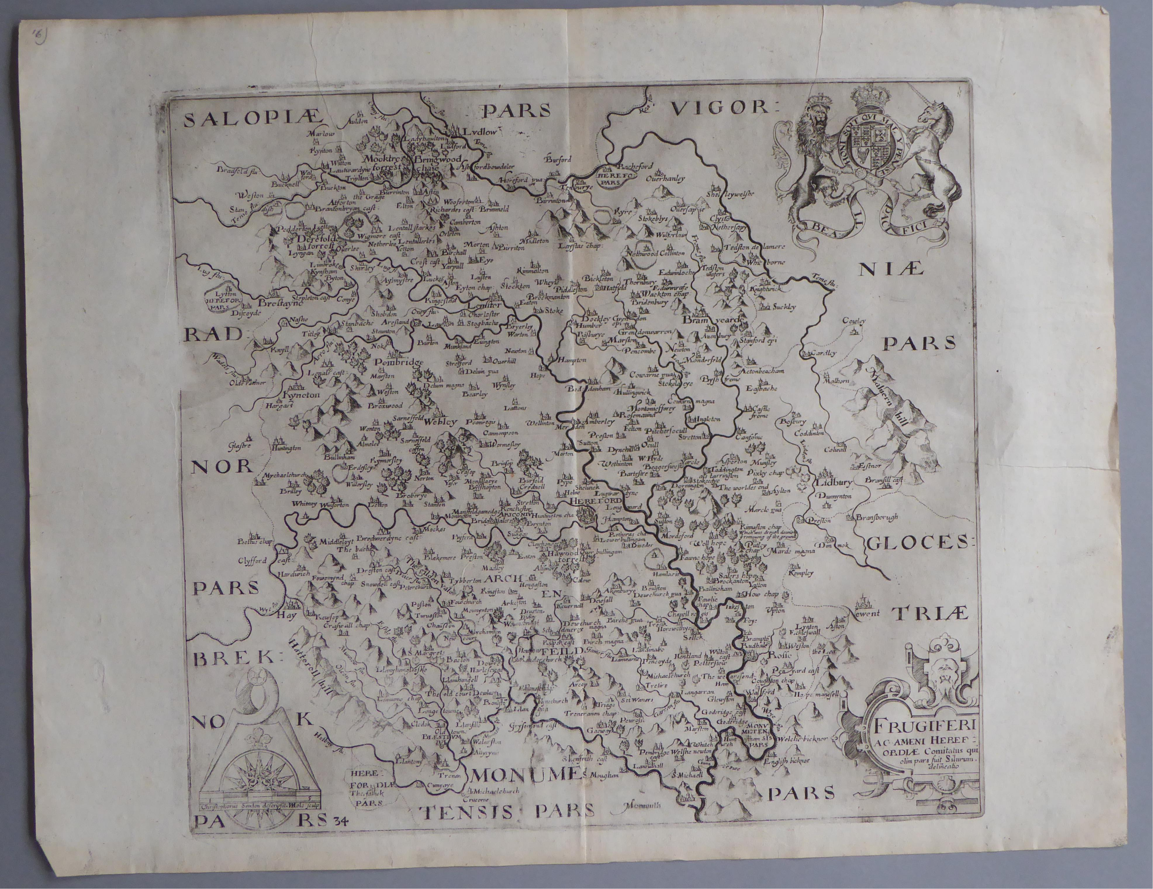 Lot 45 - A C17th Black & White copper engraved map of Herefordshire by William Hole c1637