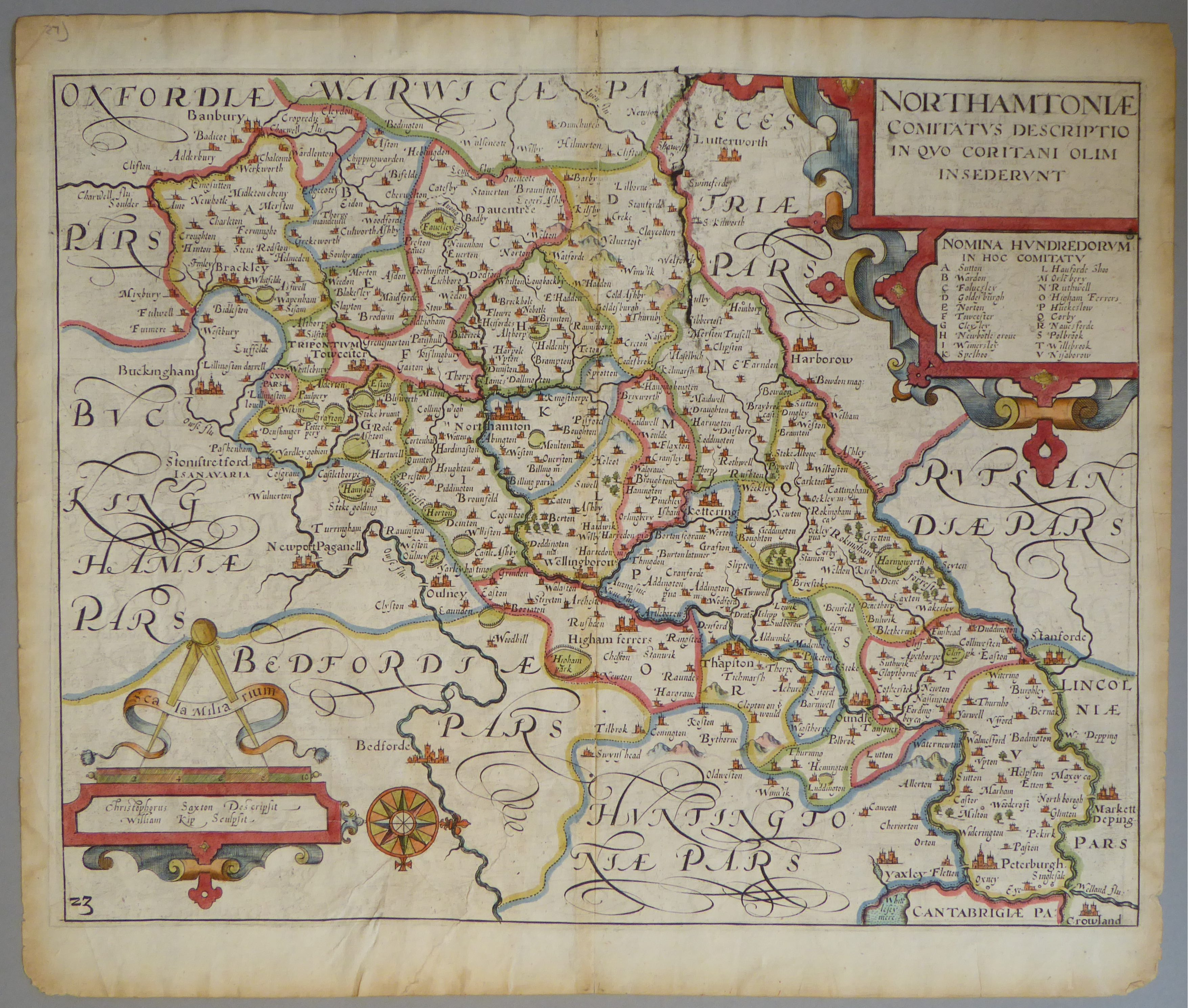 Lot 13 - A C17th hand coloured copper engraved map of Northamtonshire by William Kip c1637