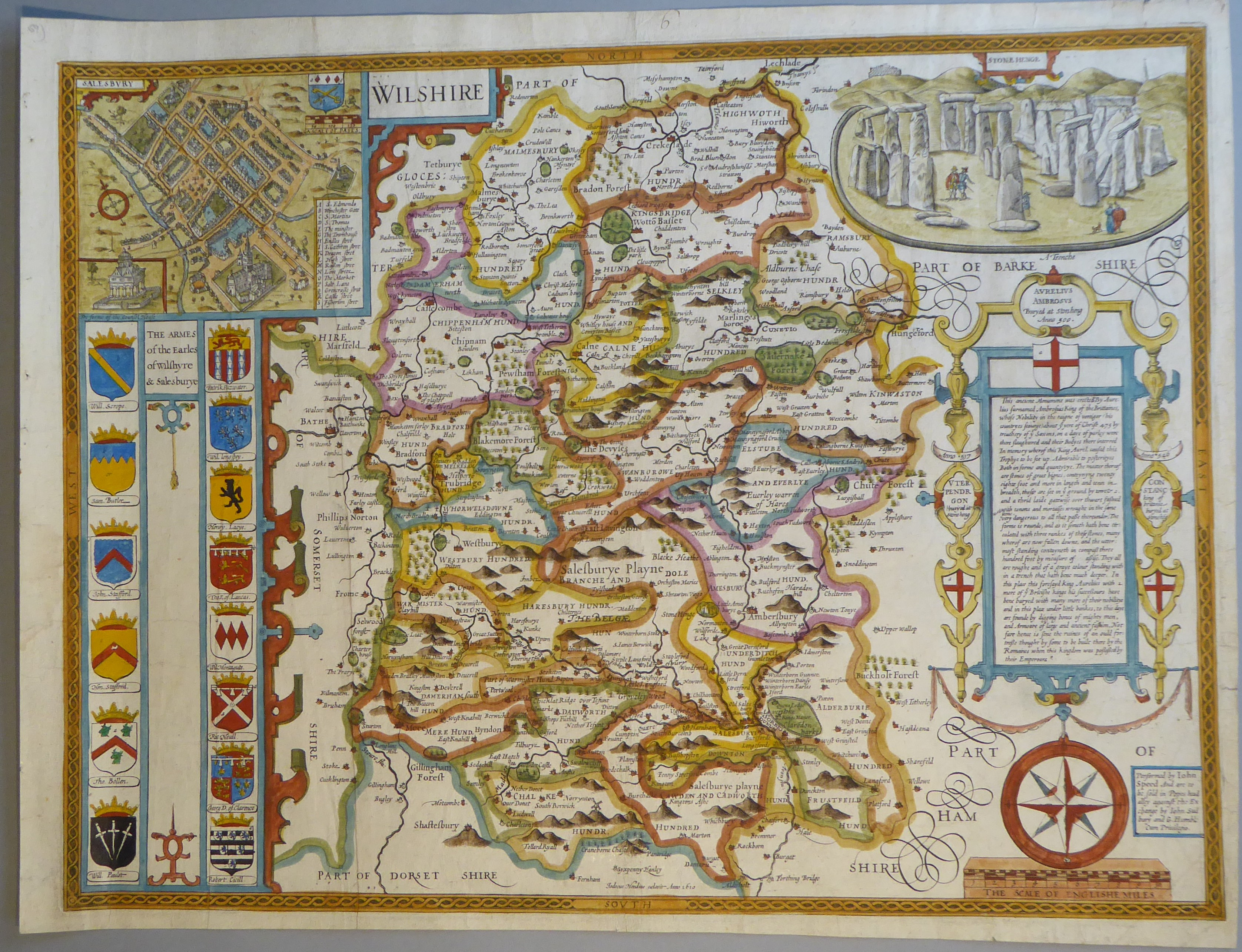 Lot 24 - A C17th hand coloured copper engraved map of Wiltshire by John Speed, c1627?