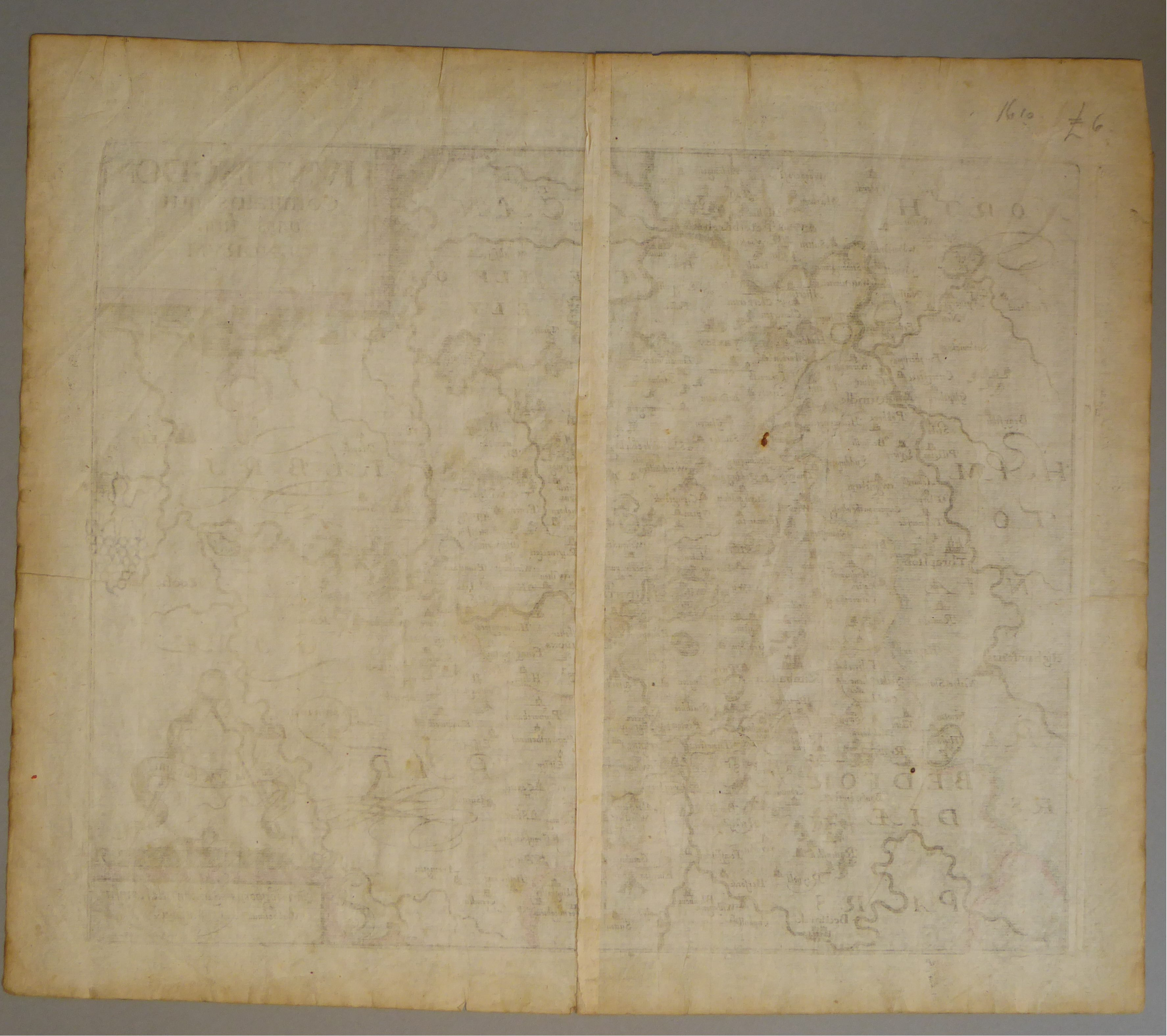 Lot 14 - A C17th hand coloured copper engraved map of Huntingdonshire by William Kip c1610