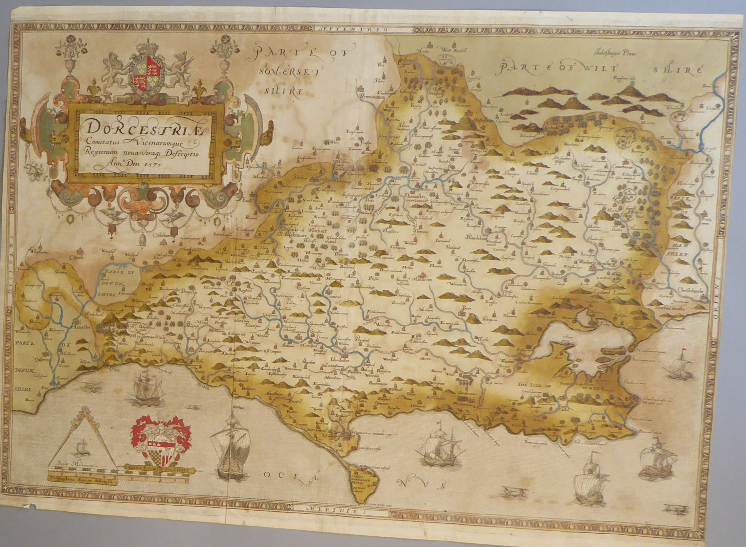 Lot 3 - A C16th hand coloured copper engraved map of Dorsetshire c1579 by Christopher Saxton
