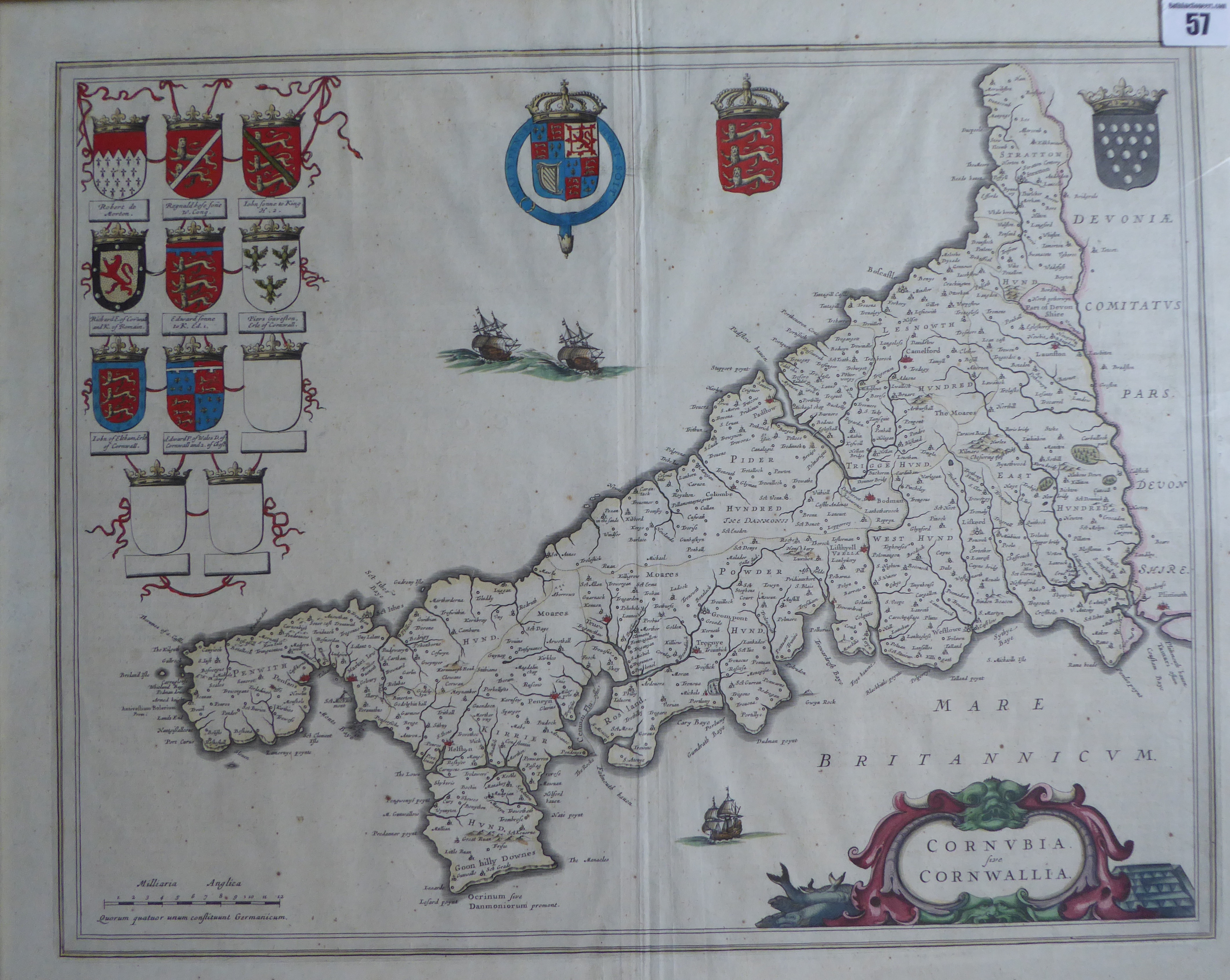 Lot 57 - A C17th hand coloured engraved map of Cornwall 1647 edition by William Jousz Blaeu