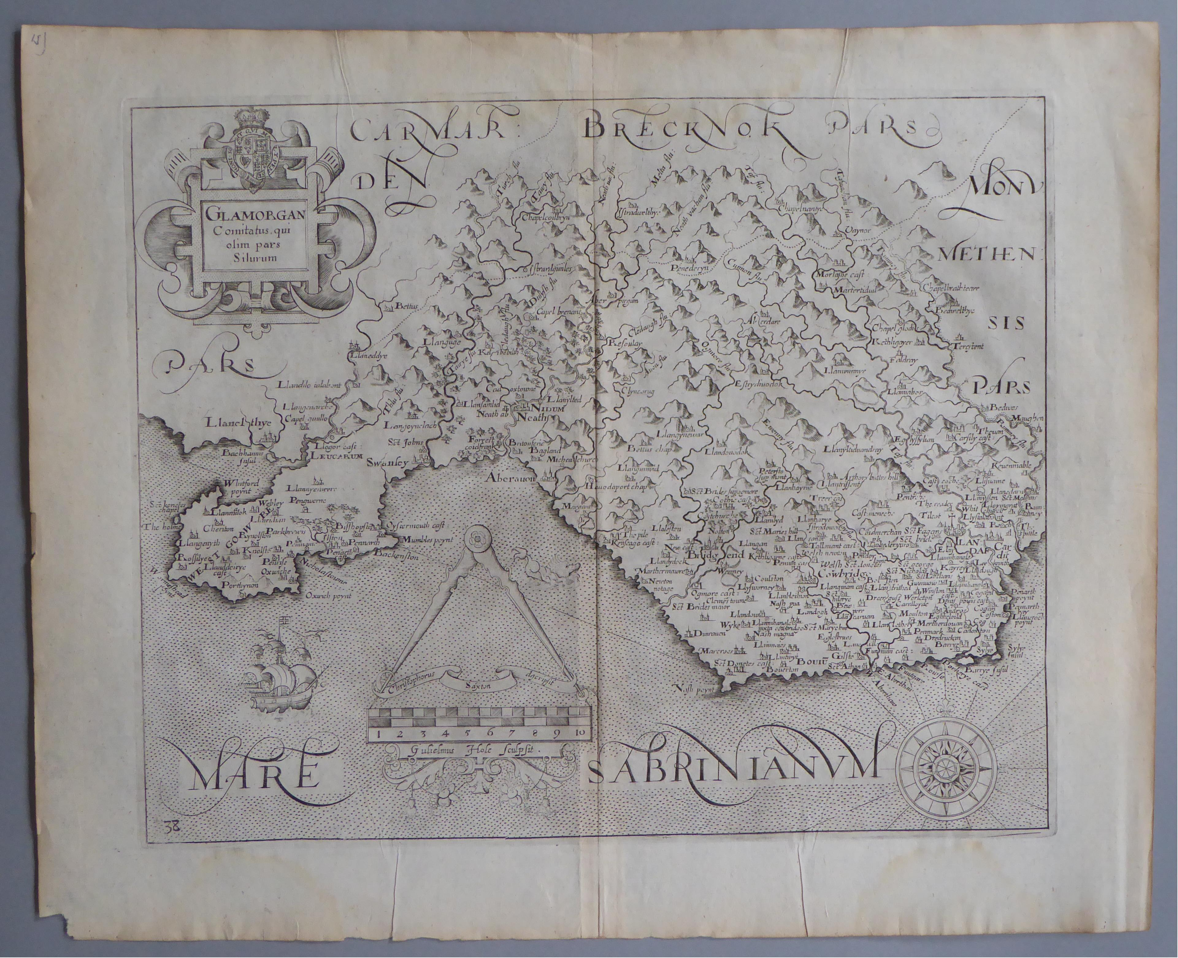 Lot 44 - A C17th Black & White copper engraved map of Glamorganshire by William Hole c1637