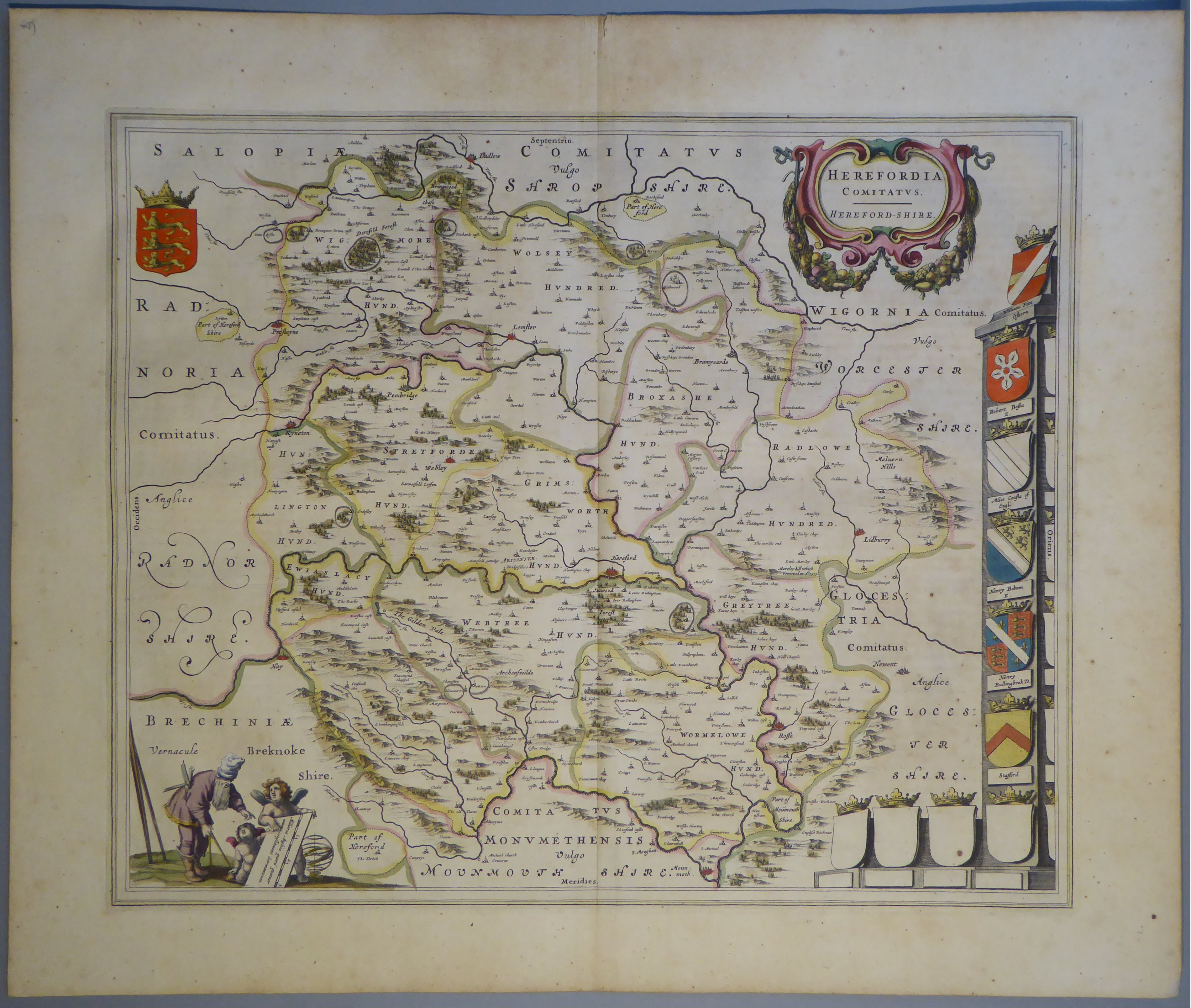 Lot 51 - A C17th hand coloured copper engraved map of Herefordshire by William Blaeu, c1645