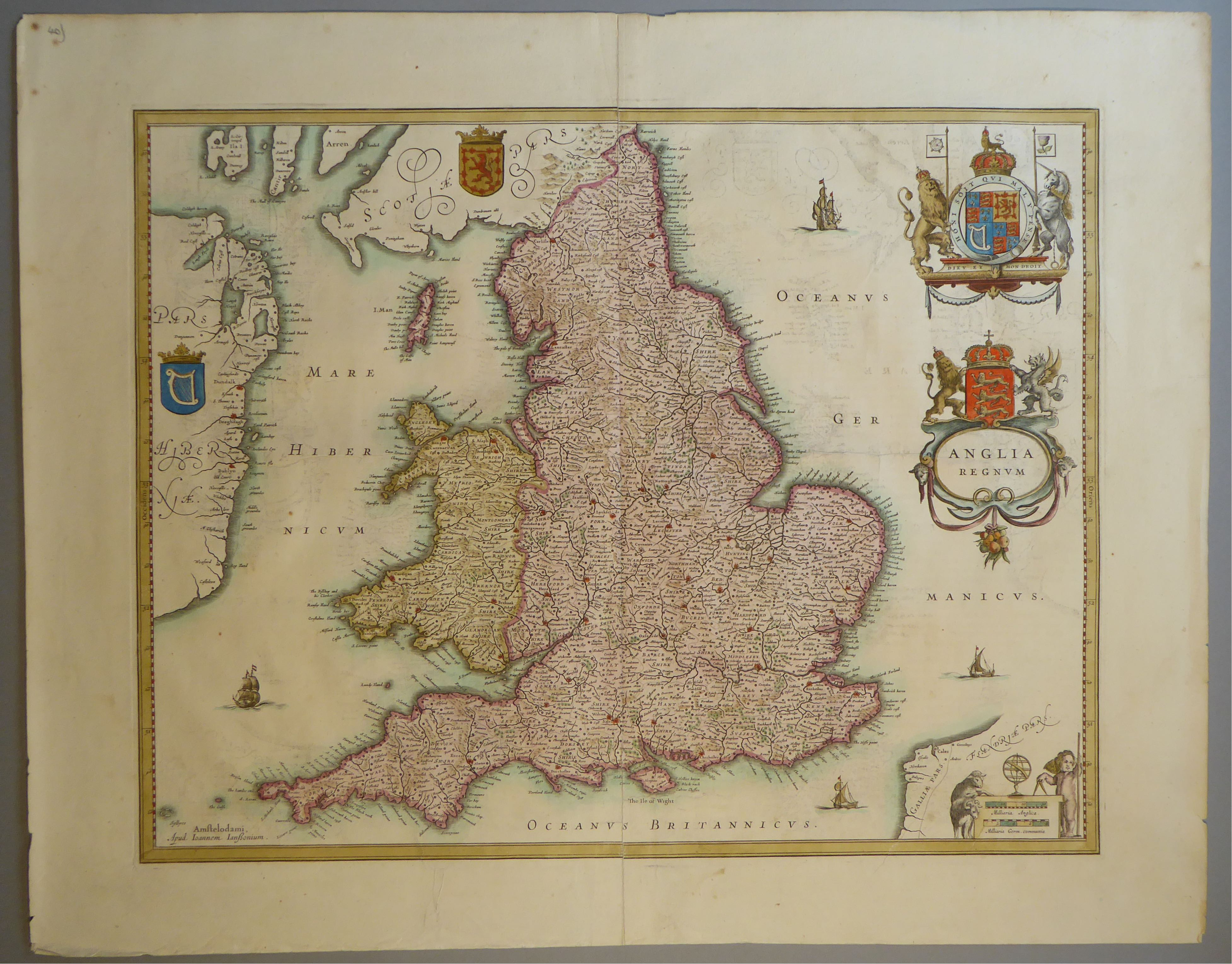 Lot 60 - A C17th hand coloured copper engraved map of England & Wales by Johann Jansson, c1650