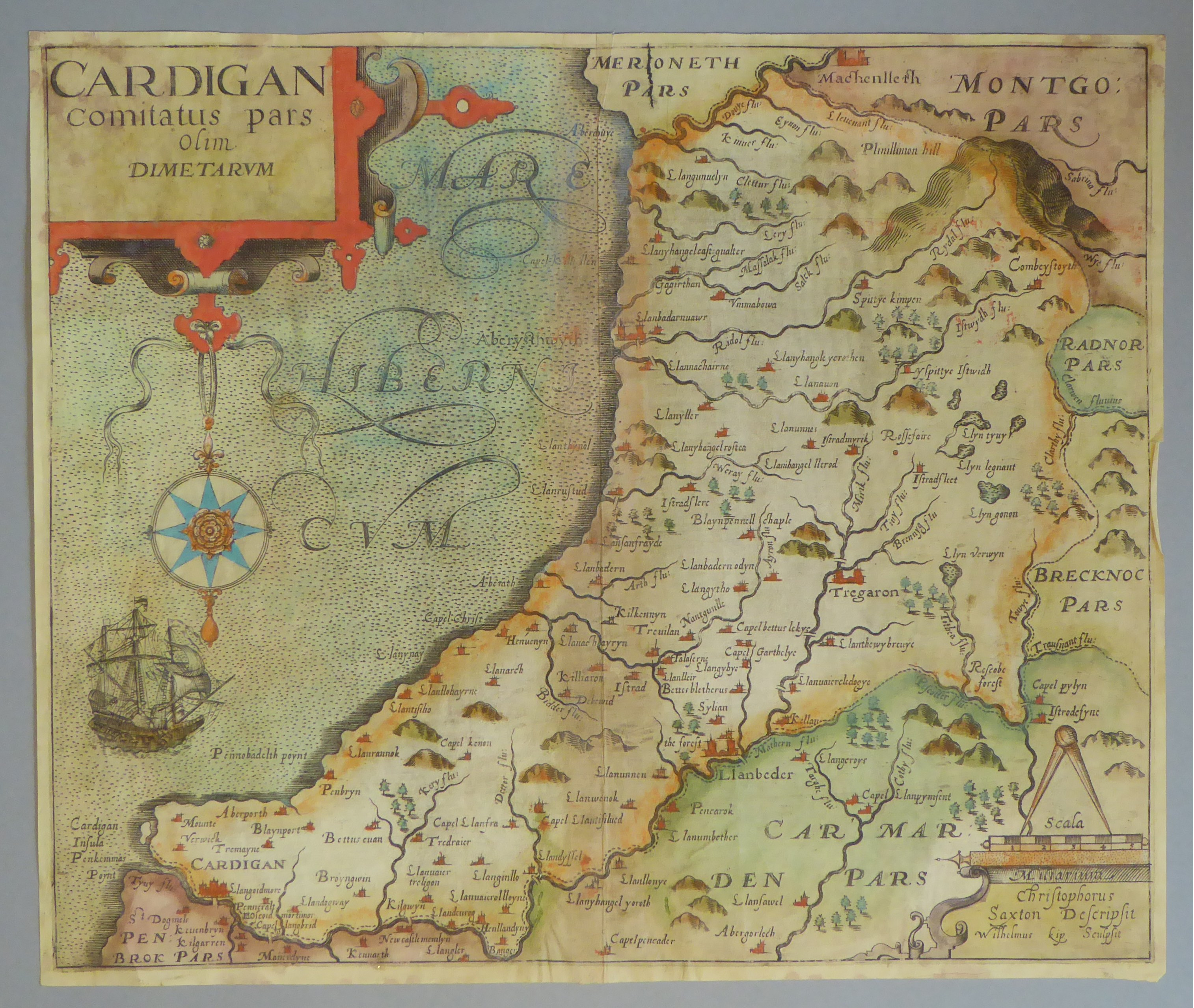 Lot 7 - A C17th hand coloured copper engraved map of Cardiganshire by William Kip c1610