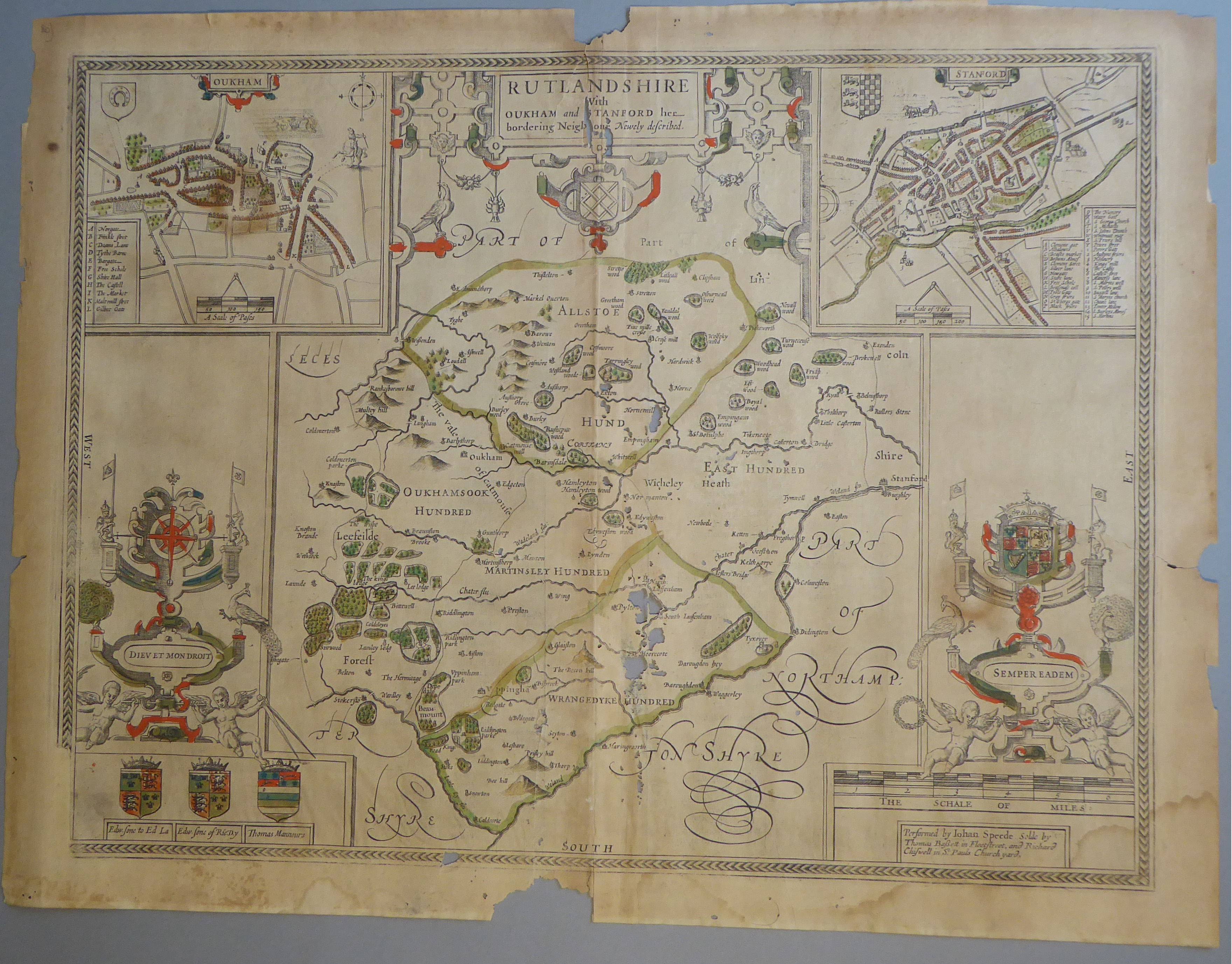 Lot 35 - A C17th part hand coloured copper engraved map of The County of Rutland by John Speed, c1676