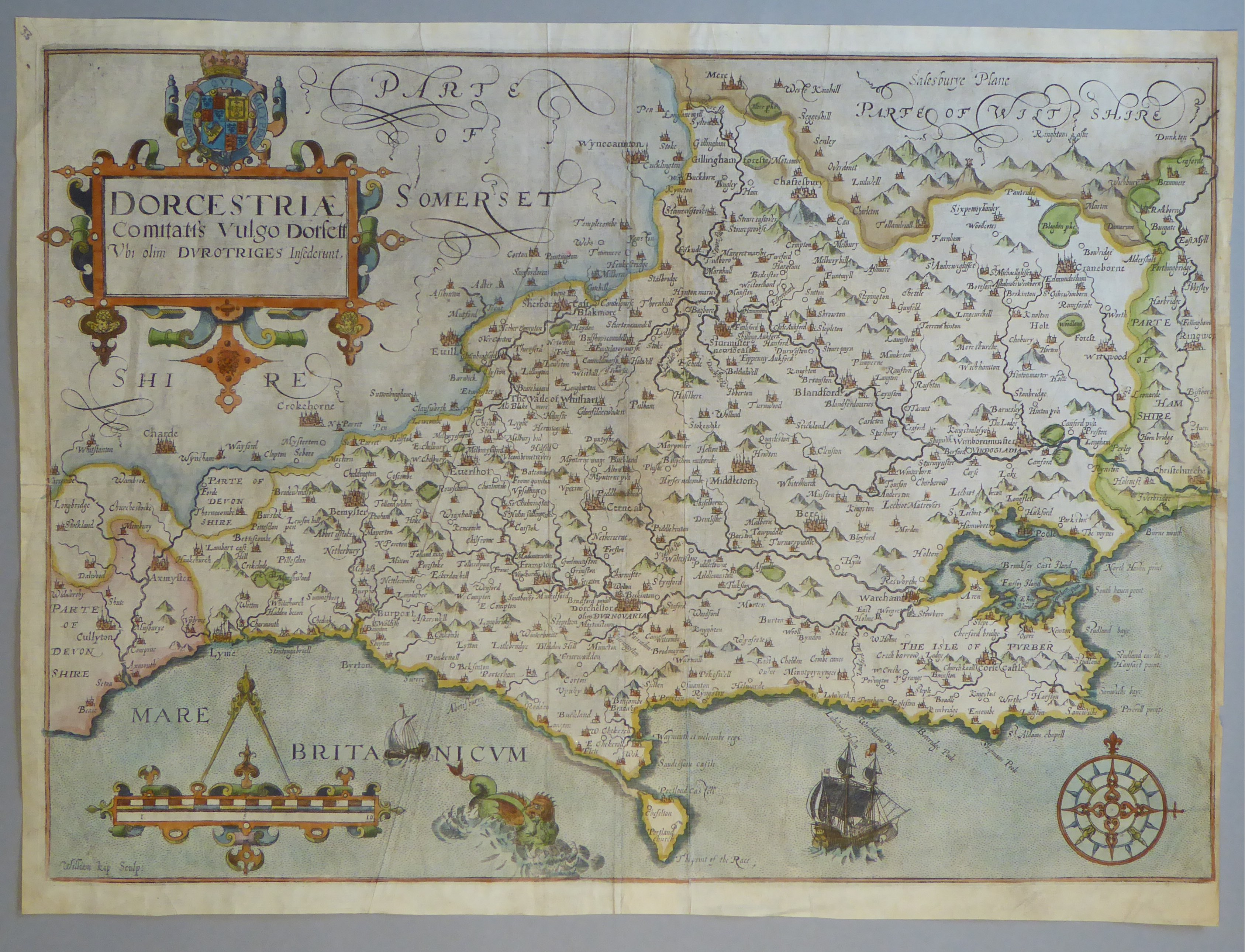 Lot 19 - A C17th hand coloured copper engraved map of Dorsetshire by William Kip c1610