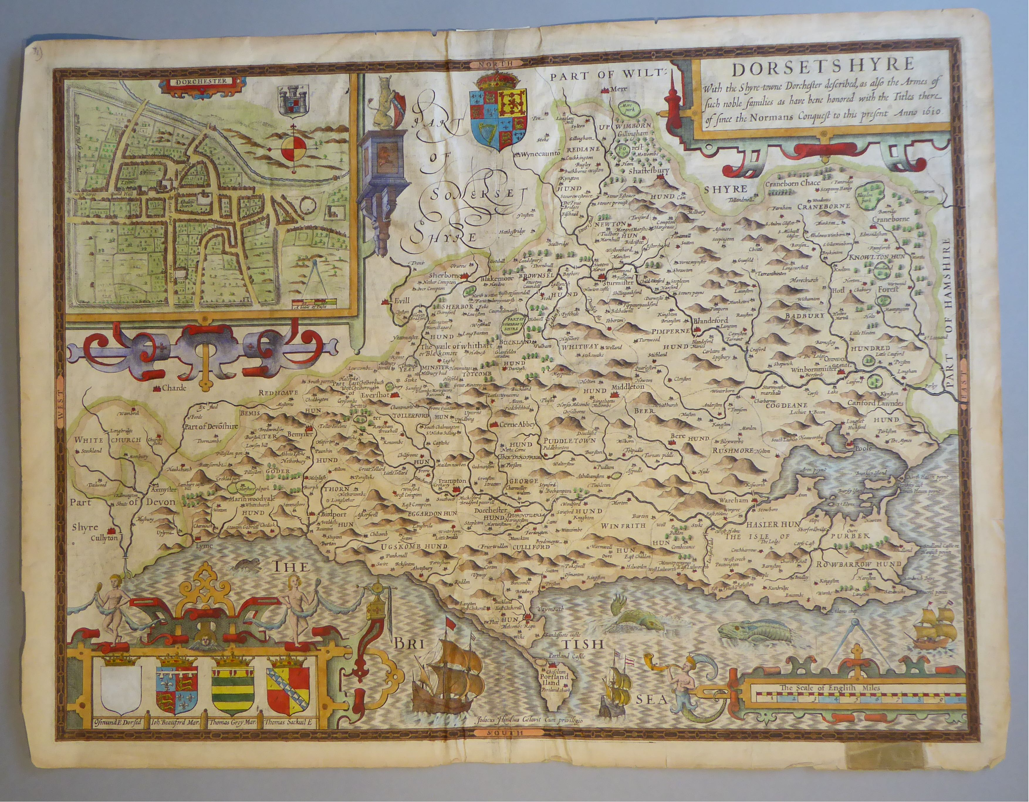 Lot 26 - A C17th hand coloured copper engraved map of Dorsetshire by John Speed, c1627