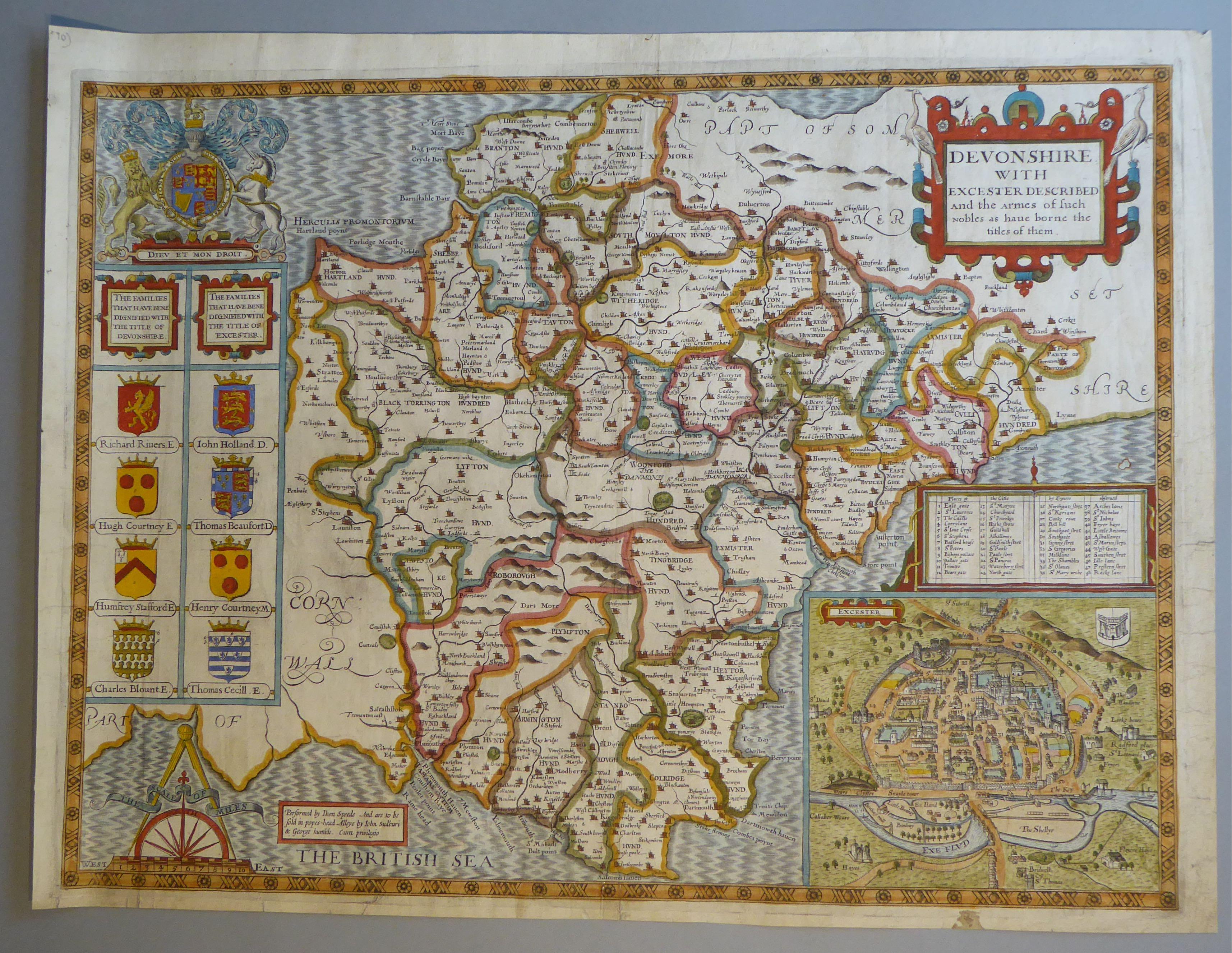 Lot 25 - A C17th hand coloured copper engraved map of Devonshire by John Speed, c1627