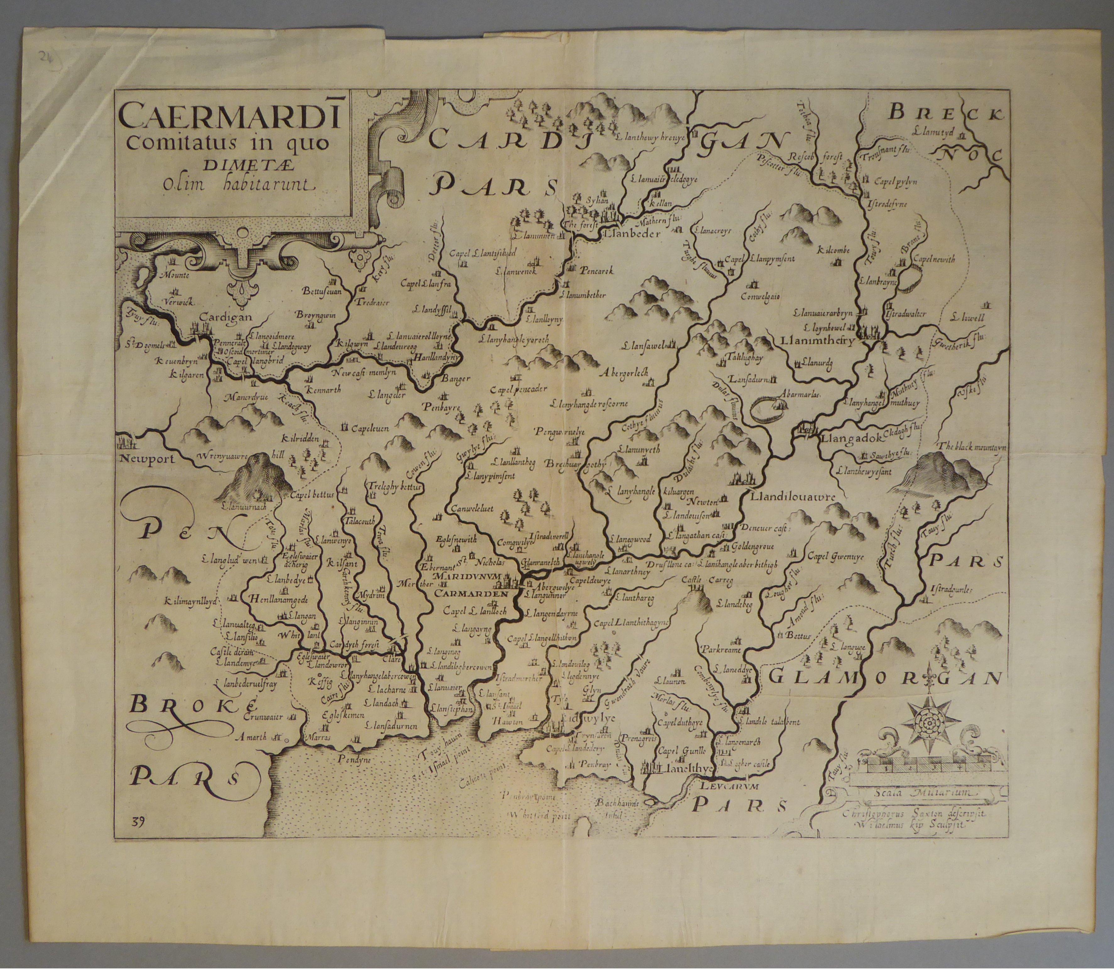 Lot 10 - A C17th Black & White copper engraved map of Carmarthenshire by William Kip c1637