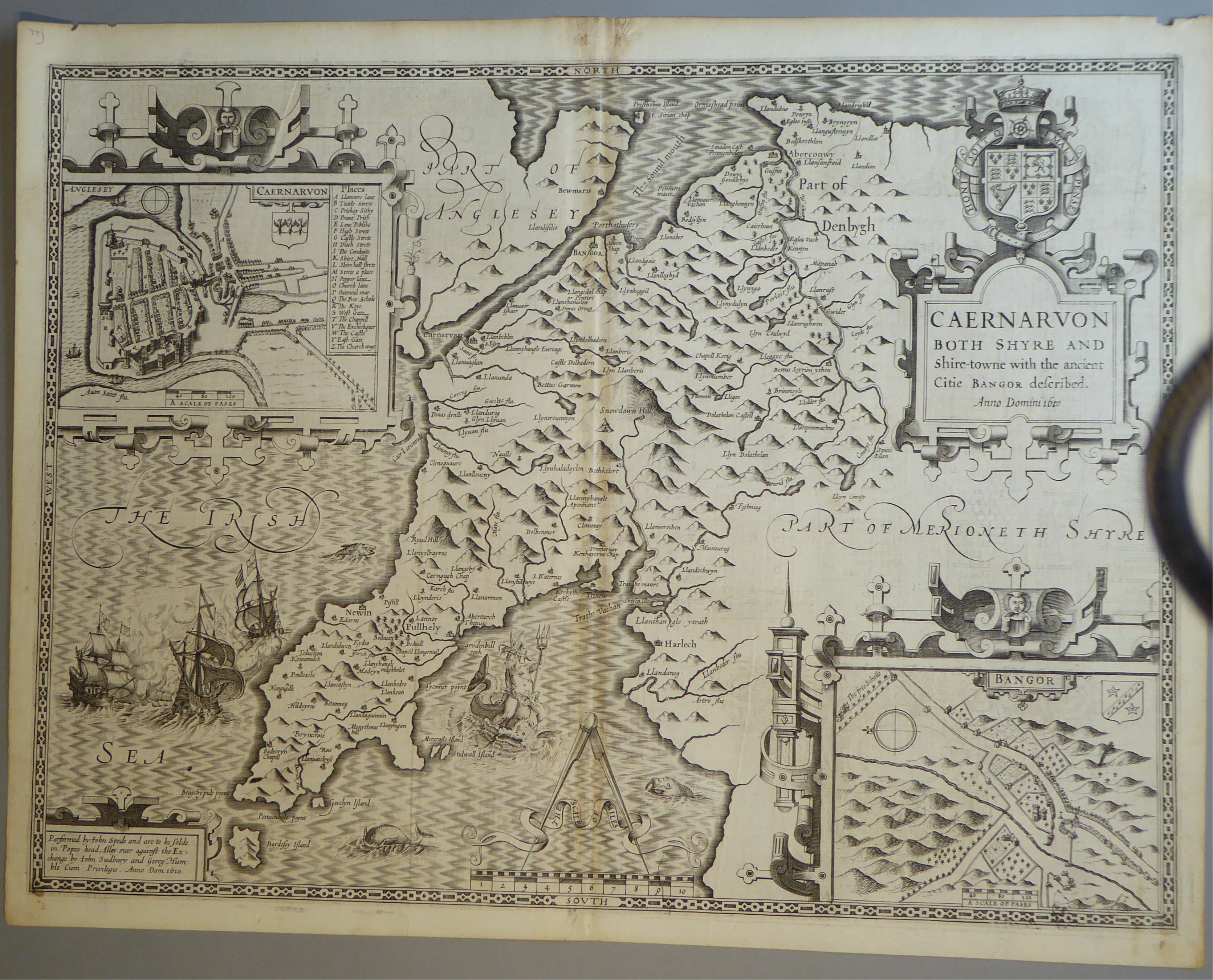 Lot 32 - A C17th Black & White copper engraved map of Caernarvonshire by John Speed, c1612