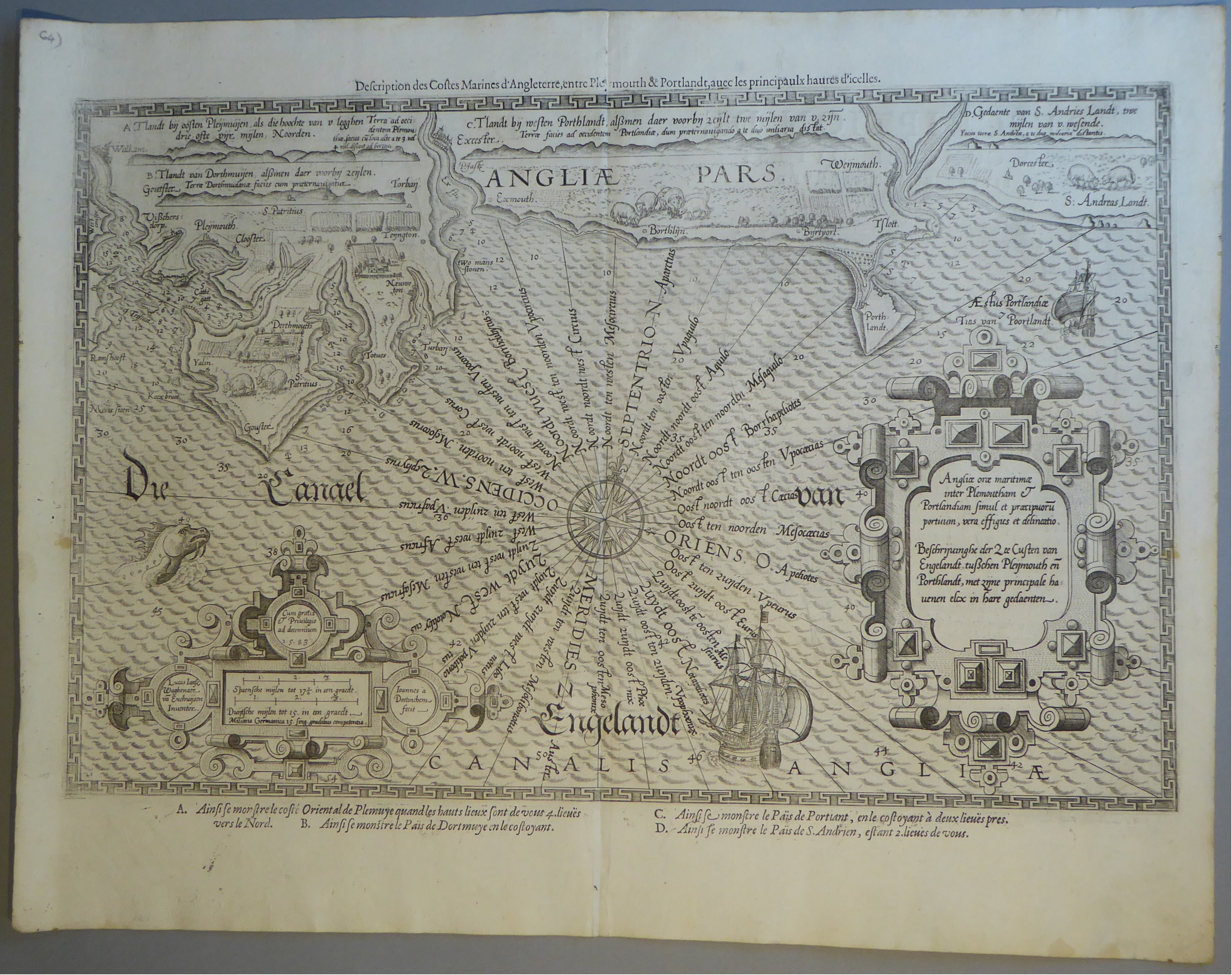 Lot 6 - A C17th Black & White copper engraved sea chart with English Channel & coast line, by Waghenaer