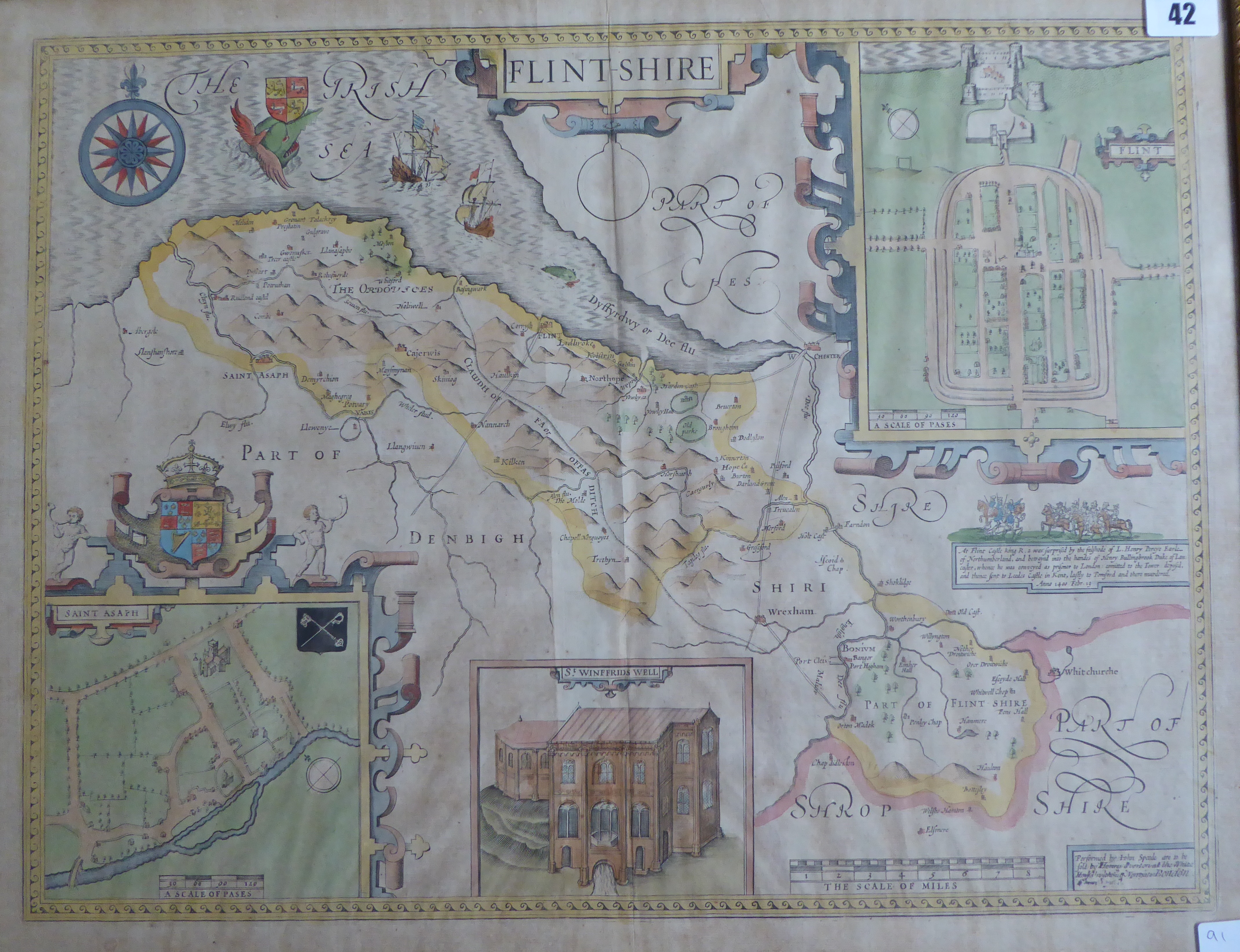 Lot 42 - A C17th hand coloured copper engraved map of Flintshire by John Speed