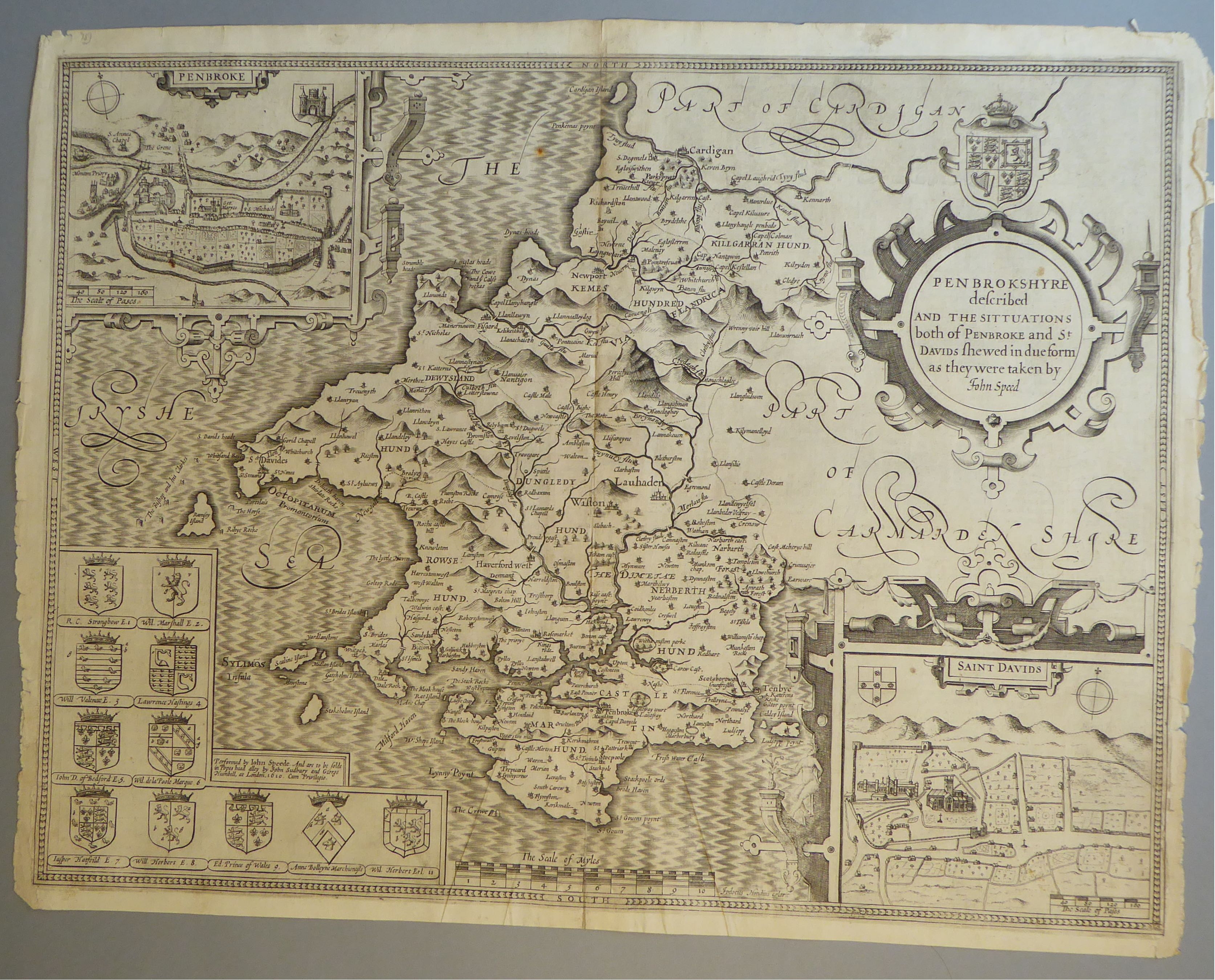 Lot 30 - A C17th Black & White copper engraved map of Pembrokeshire by John Speed, c1627