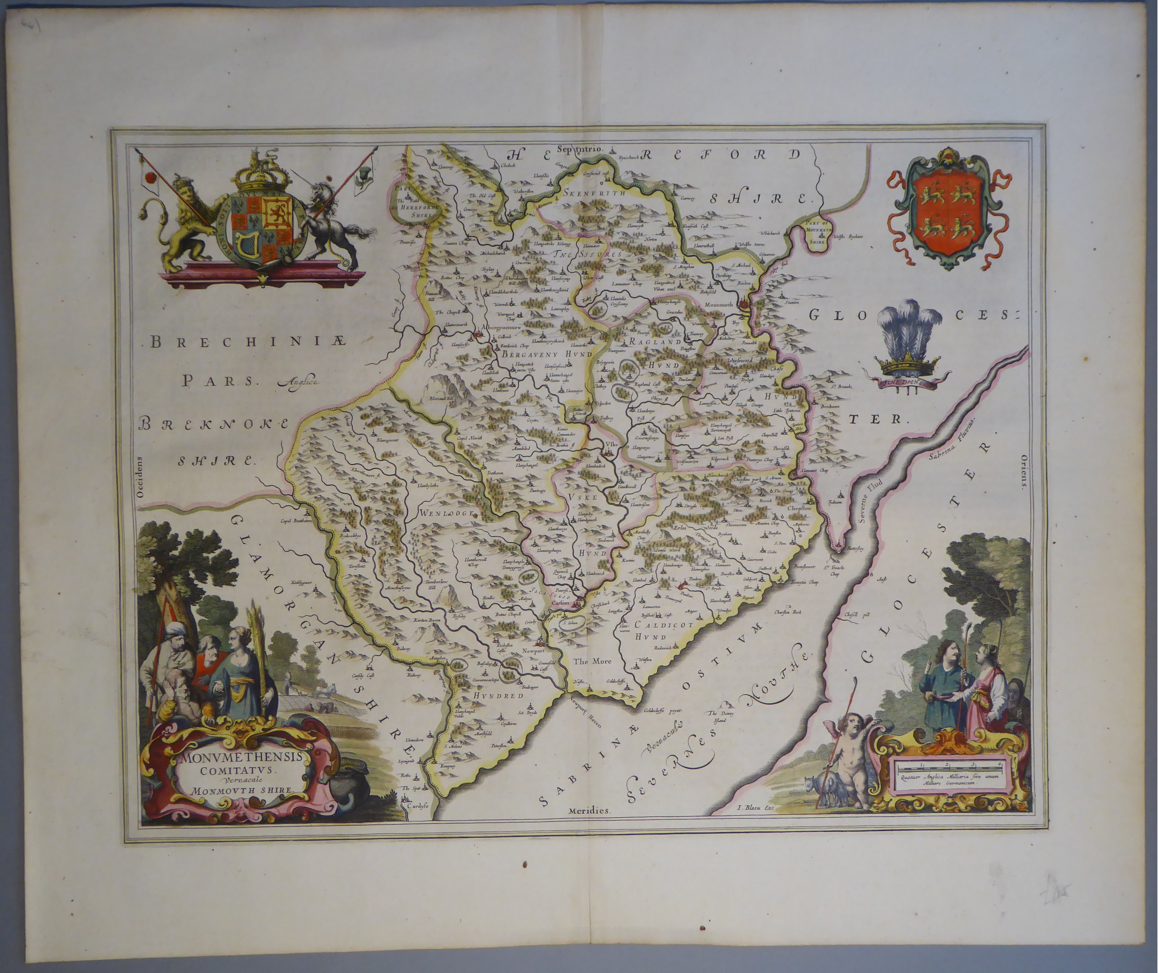Lot 50 - A C17th hand coloured copper engraved map of Monmouthshire by William Blaeu, c1645