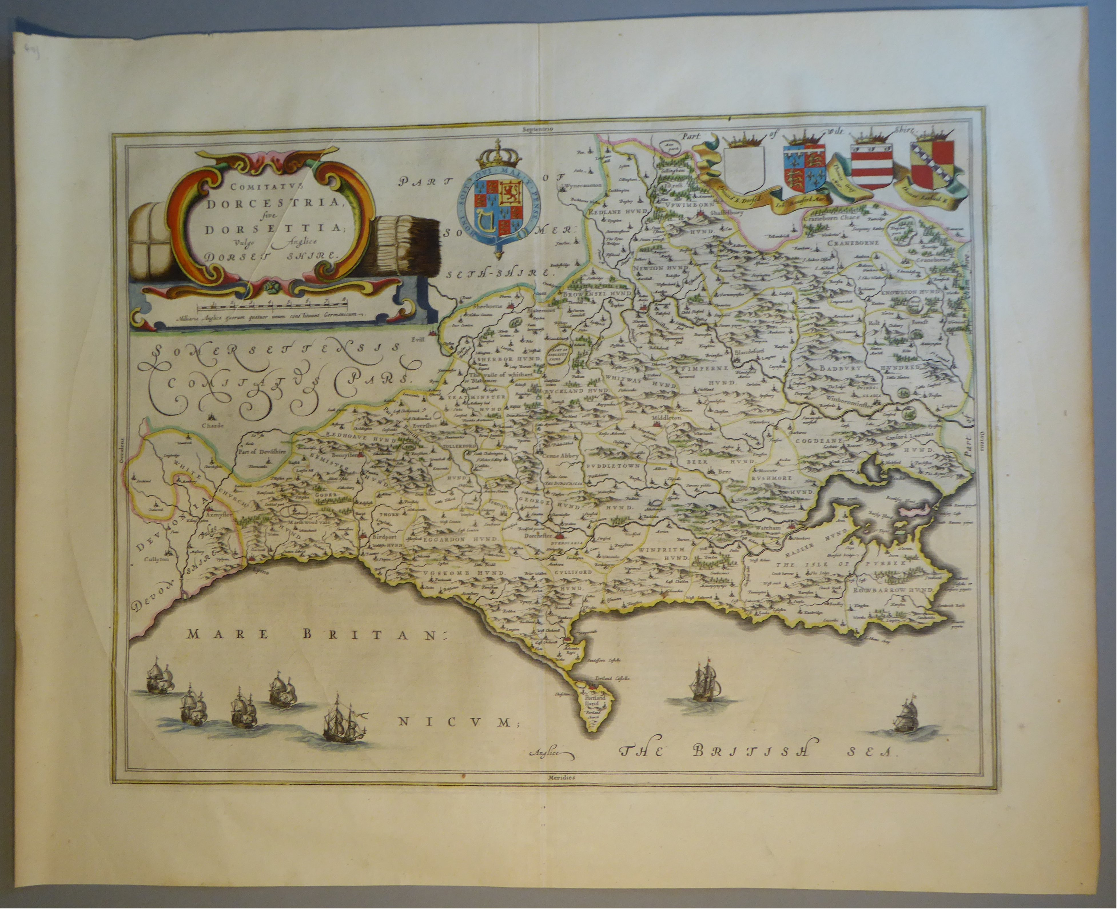 Lot 55 - A C17th hand coloured copper engraved map of Dorsetshire by William Blaeu, c1645