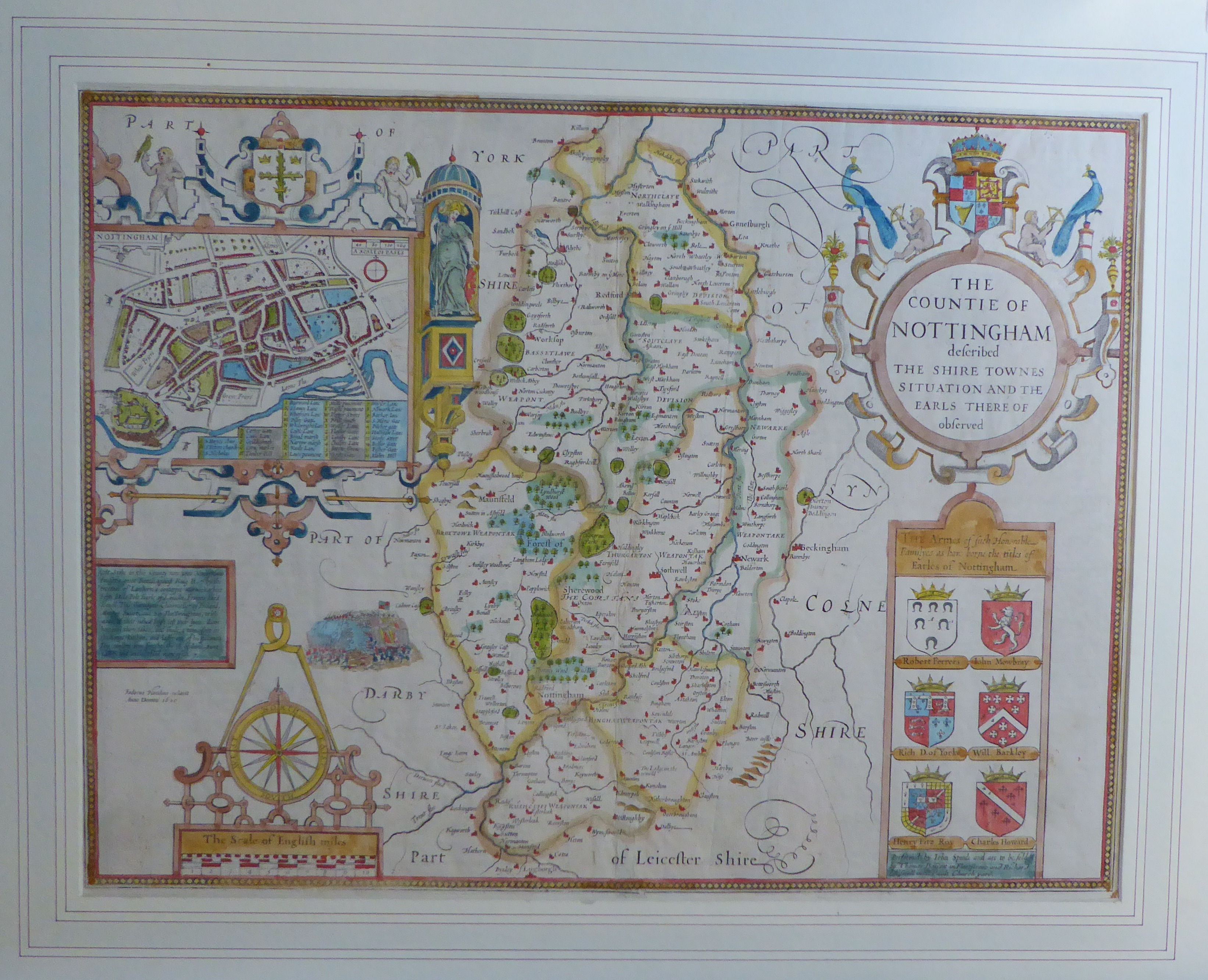 Lot 36 - A C17th hand coloured copper engraved map of The County of Nottingham by John Speed, c1676