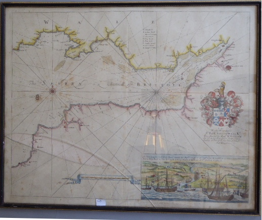 Lot 58 - A C17th hand coloured copper engraved sea chart of the Bristol Channel 1652
