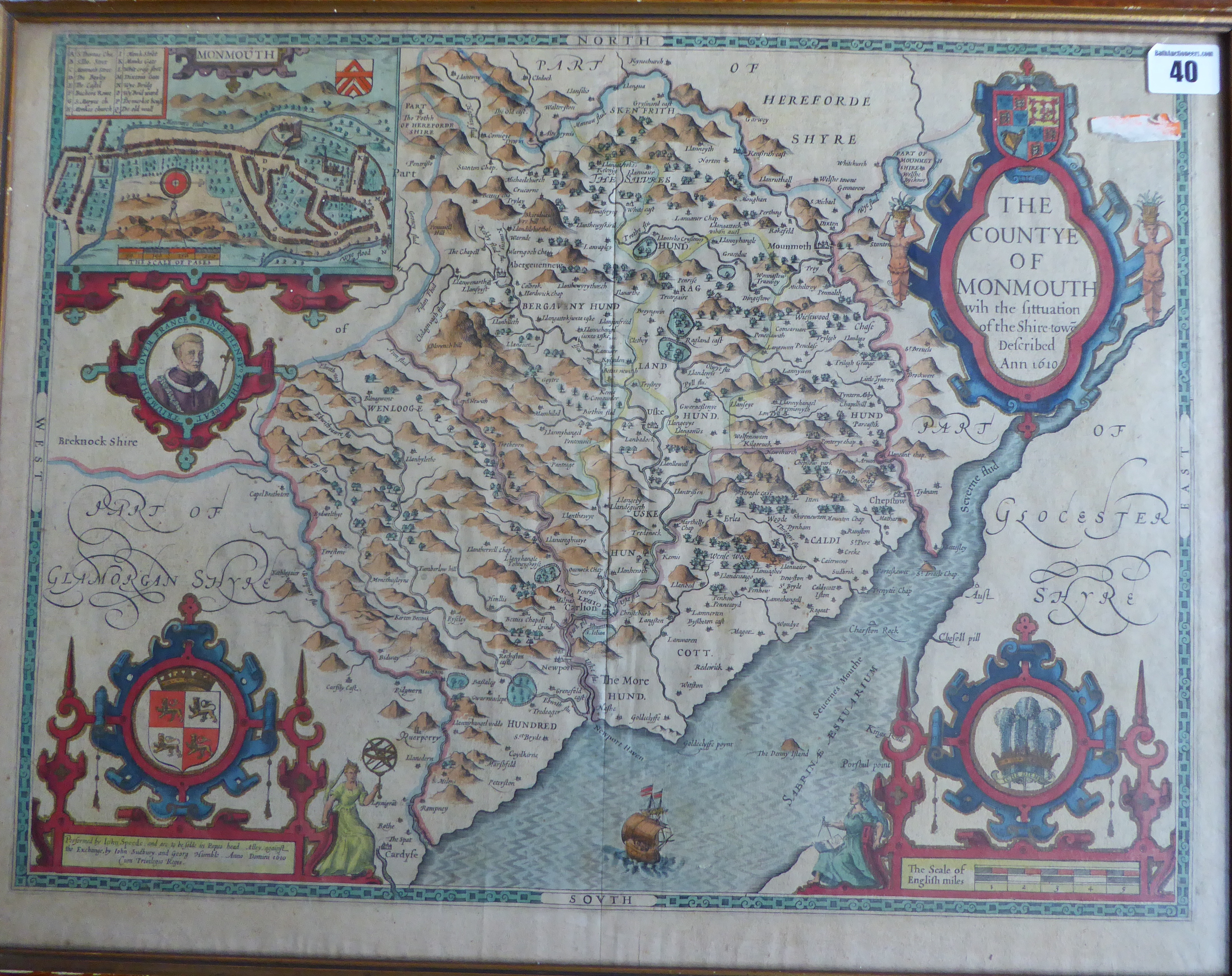 Lot 40 - A C17th hand coloured copper engraved map of Monmouth 1612 edition by John Speed